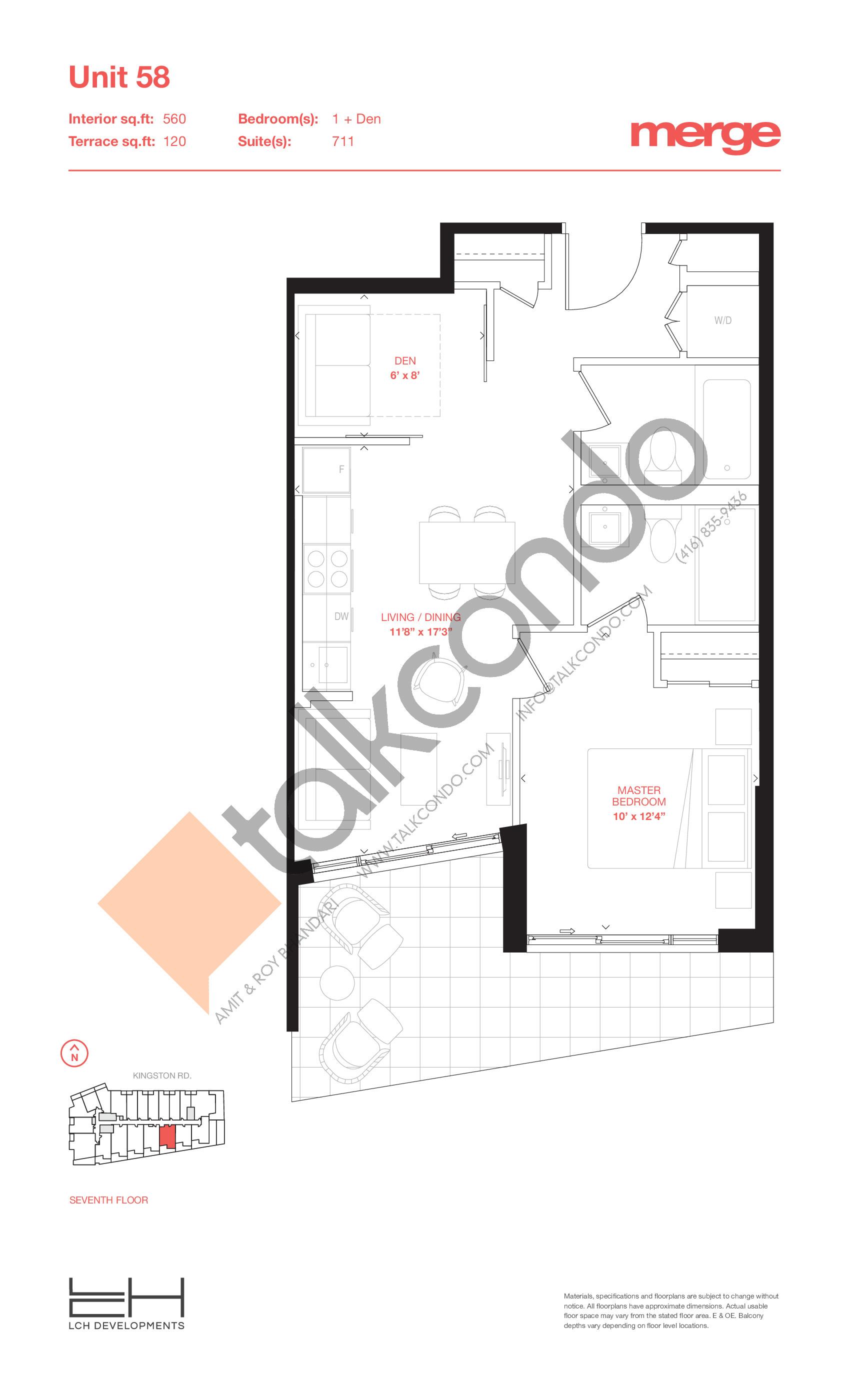 Unit 58 - Terraces Floor Plan at Merge Condos - 560 sq.ft