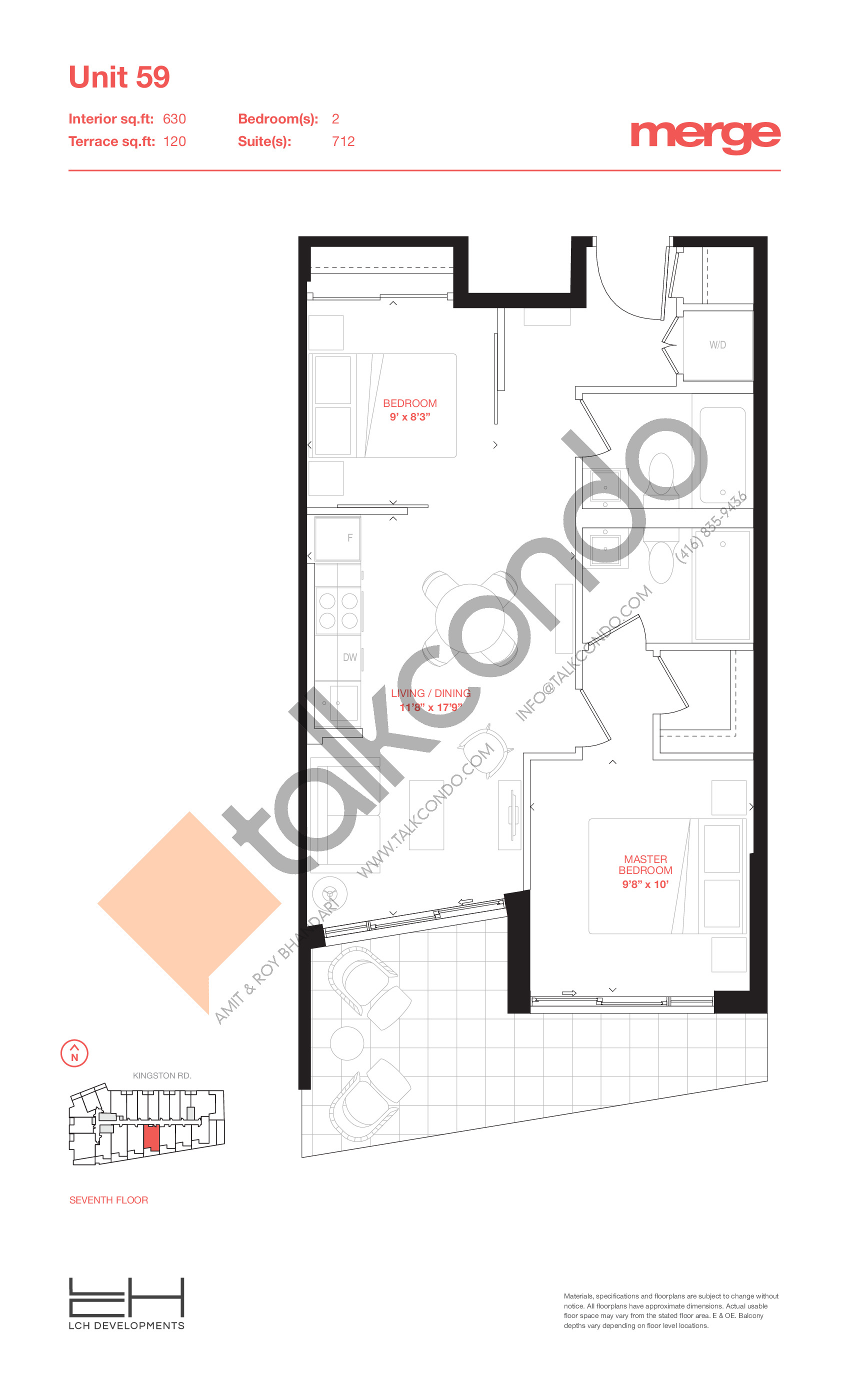 Unit 59 - Tower Floor Plan at Merge Condos - 630 sq.ft