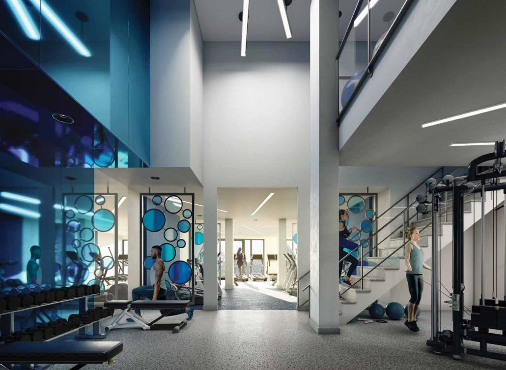 gym rendering at merge condos