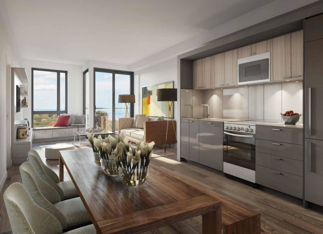 merge condos kitchen and living room rendering