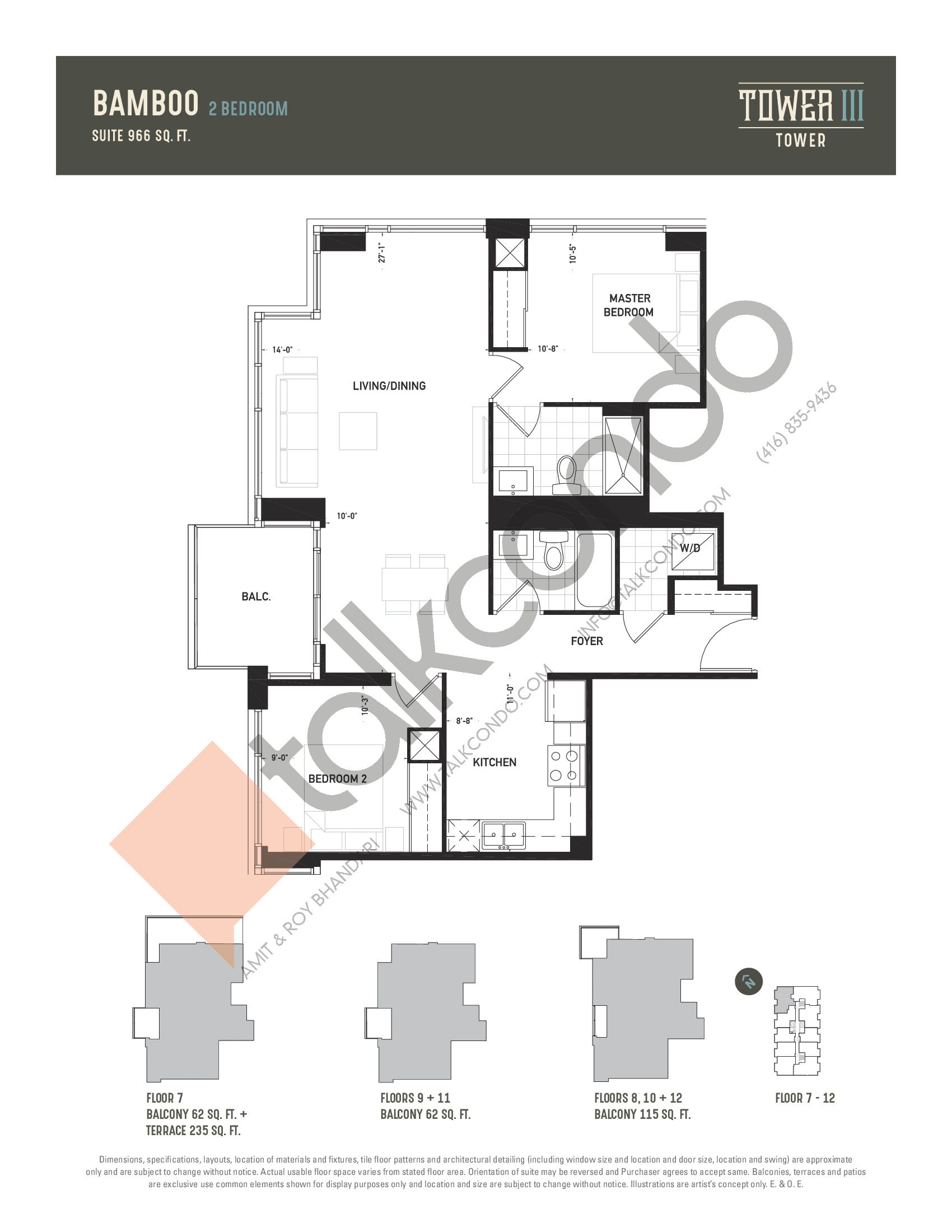 Bamboo Floor Plan at Oak & Co. 3 Condos - 966 sq.ft