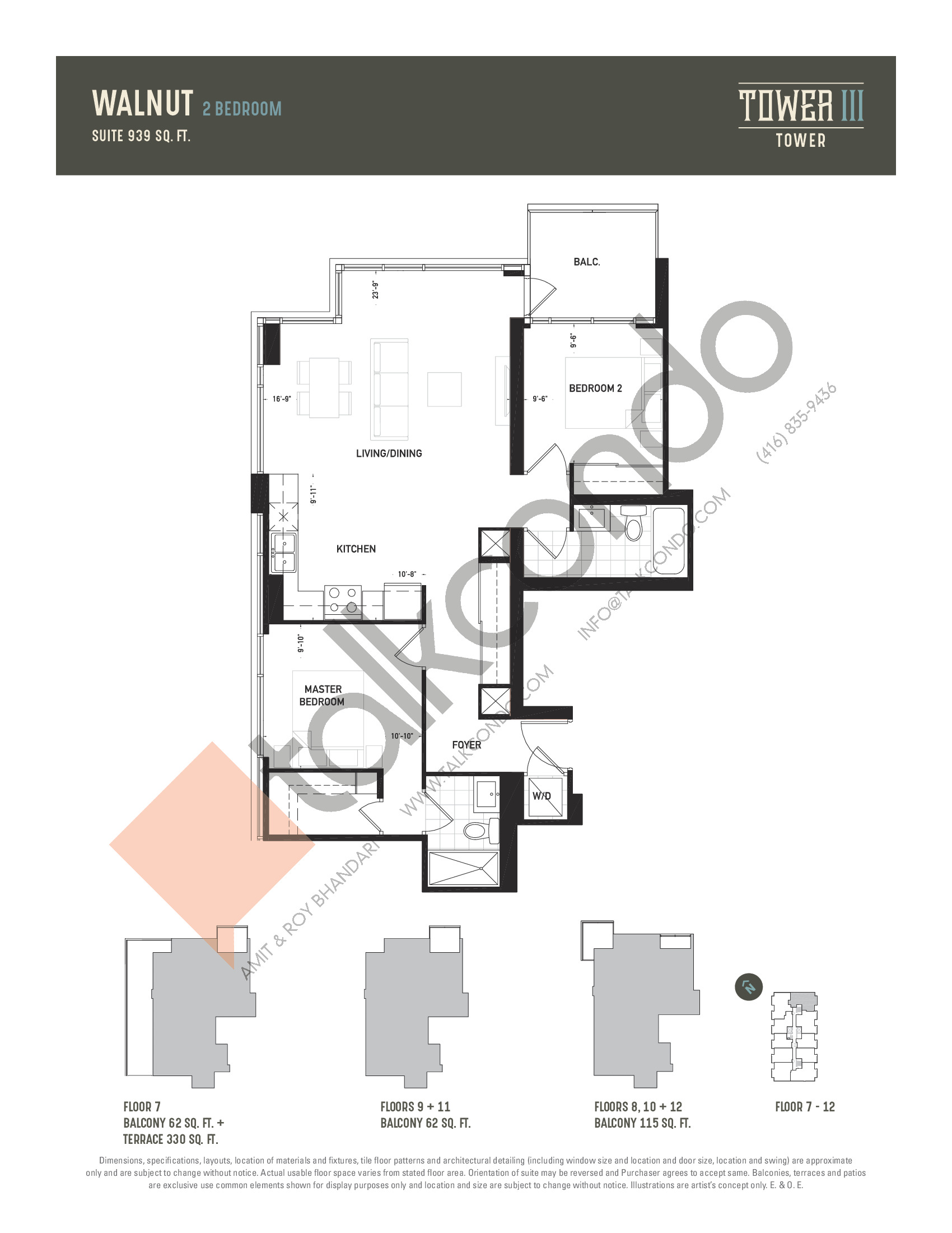 Walnut Floor Plan at Oak & Co. 3 Condos - 939 sq.ft