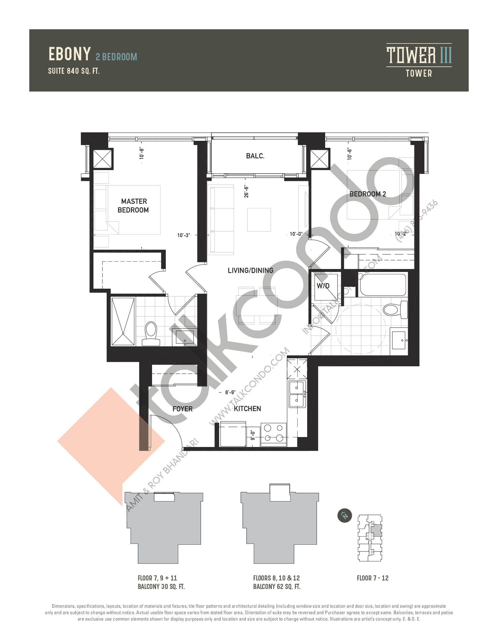 Ebony Floor Plan at Oak & Co. 3 Condos - 840 sq.ft