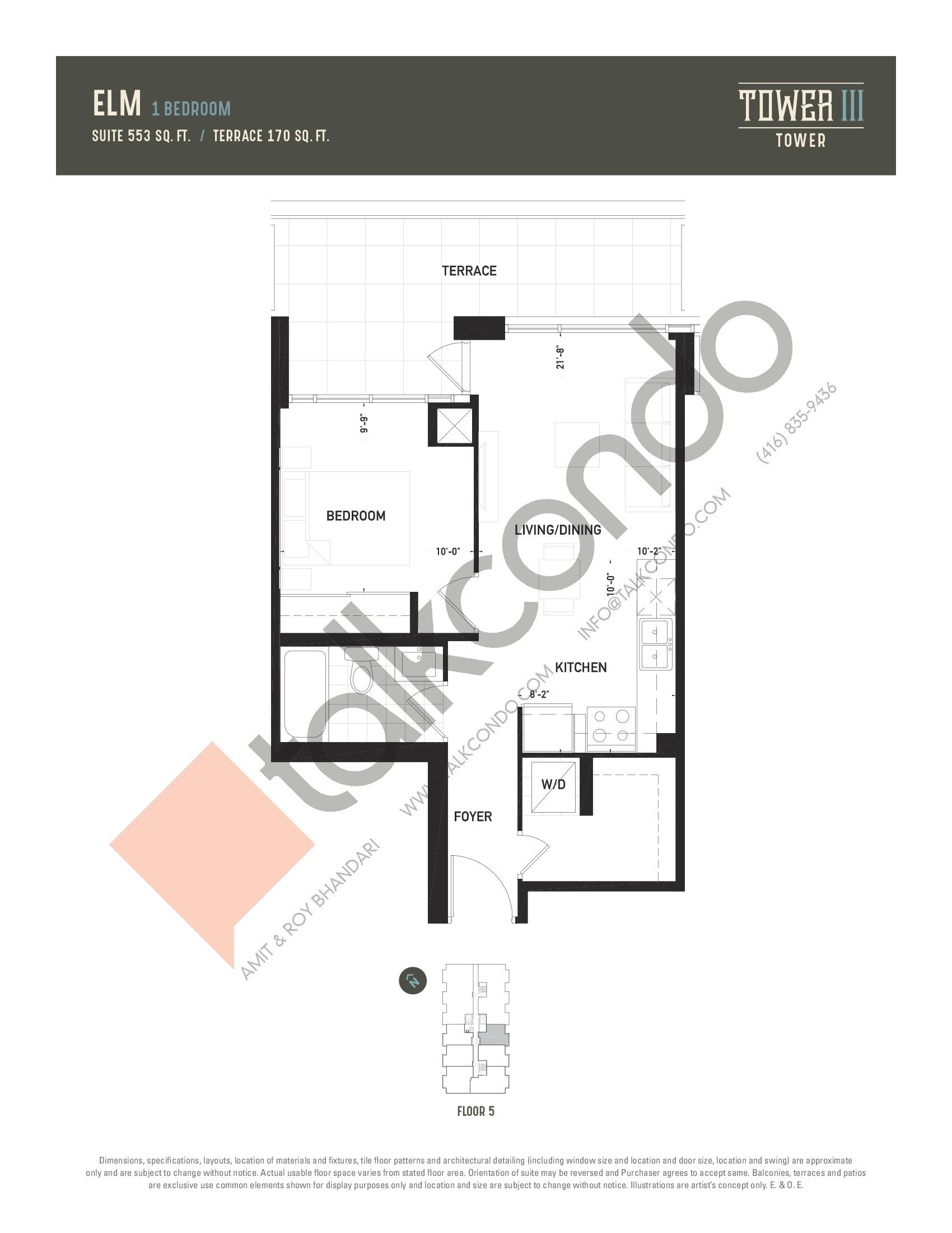 Elm (Terrace) Floor Plan at Oak & Co. 3 Condos - 553 sq.ft