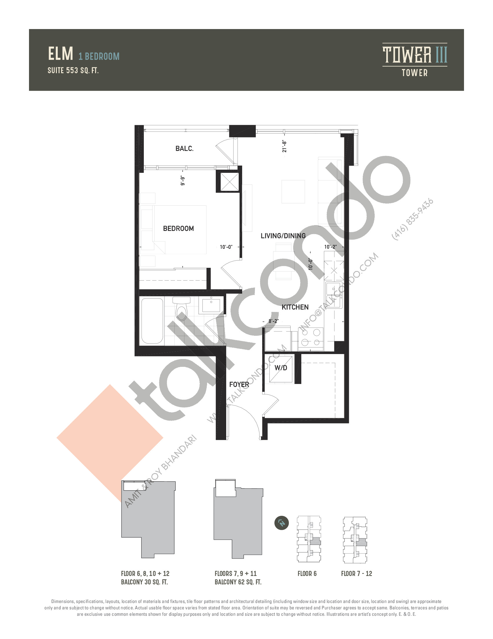 Elm Floor Plan at Oak & Co. 3 Condos - 553 sq.ft