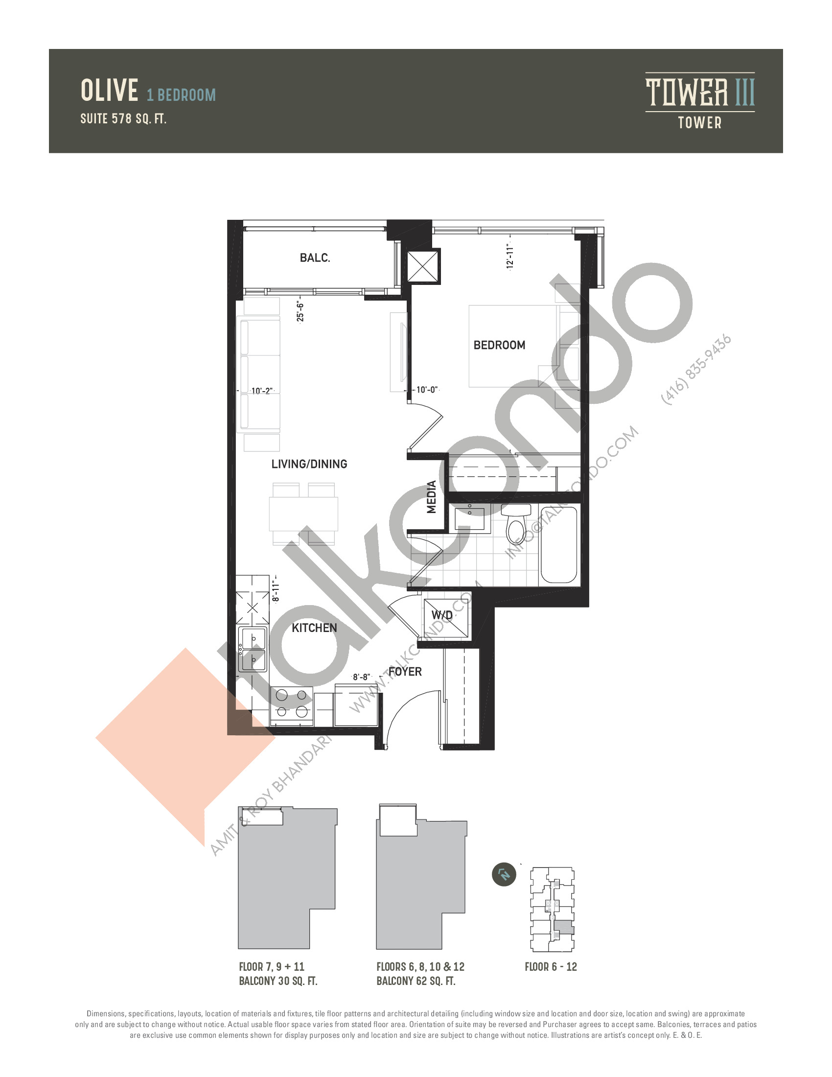 Olive Floor Plan at Oak & Co. 3 Condos - 578 sq.ft