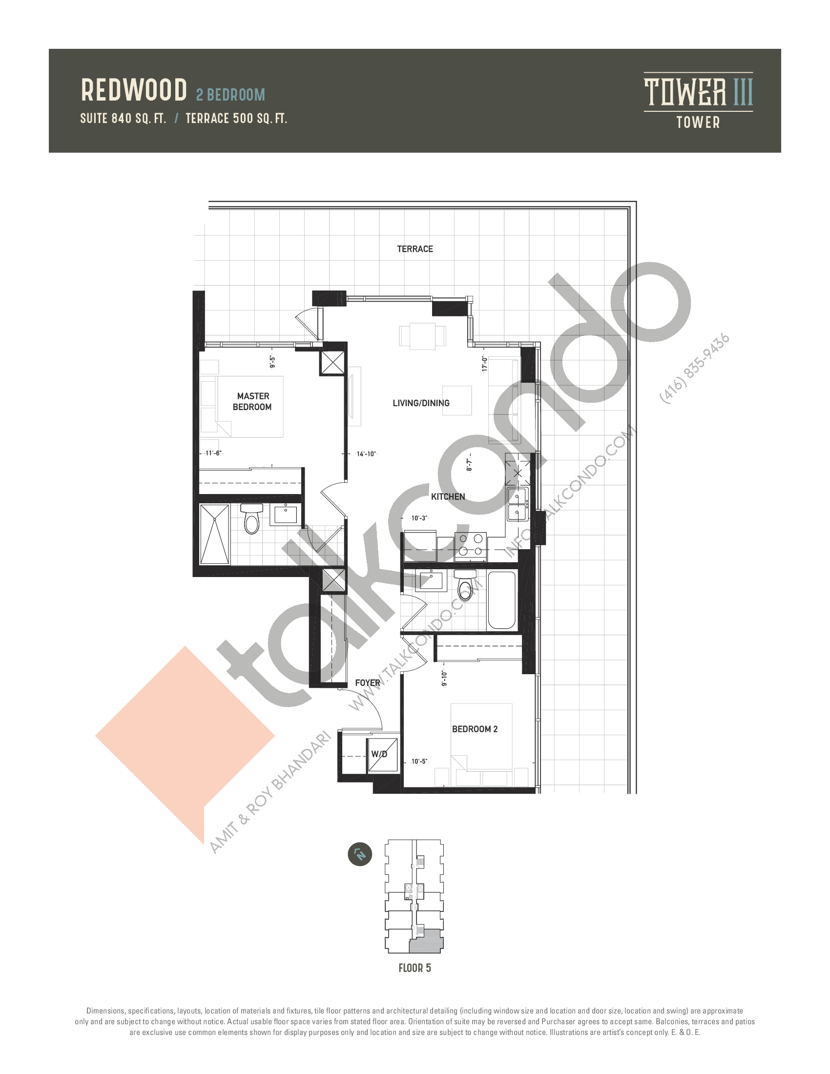 Redwood (Terrace) Floor Plan at Oak & Co. 3 Condos - 840 sq.ft