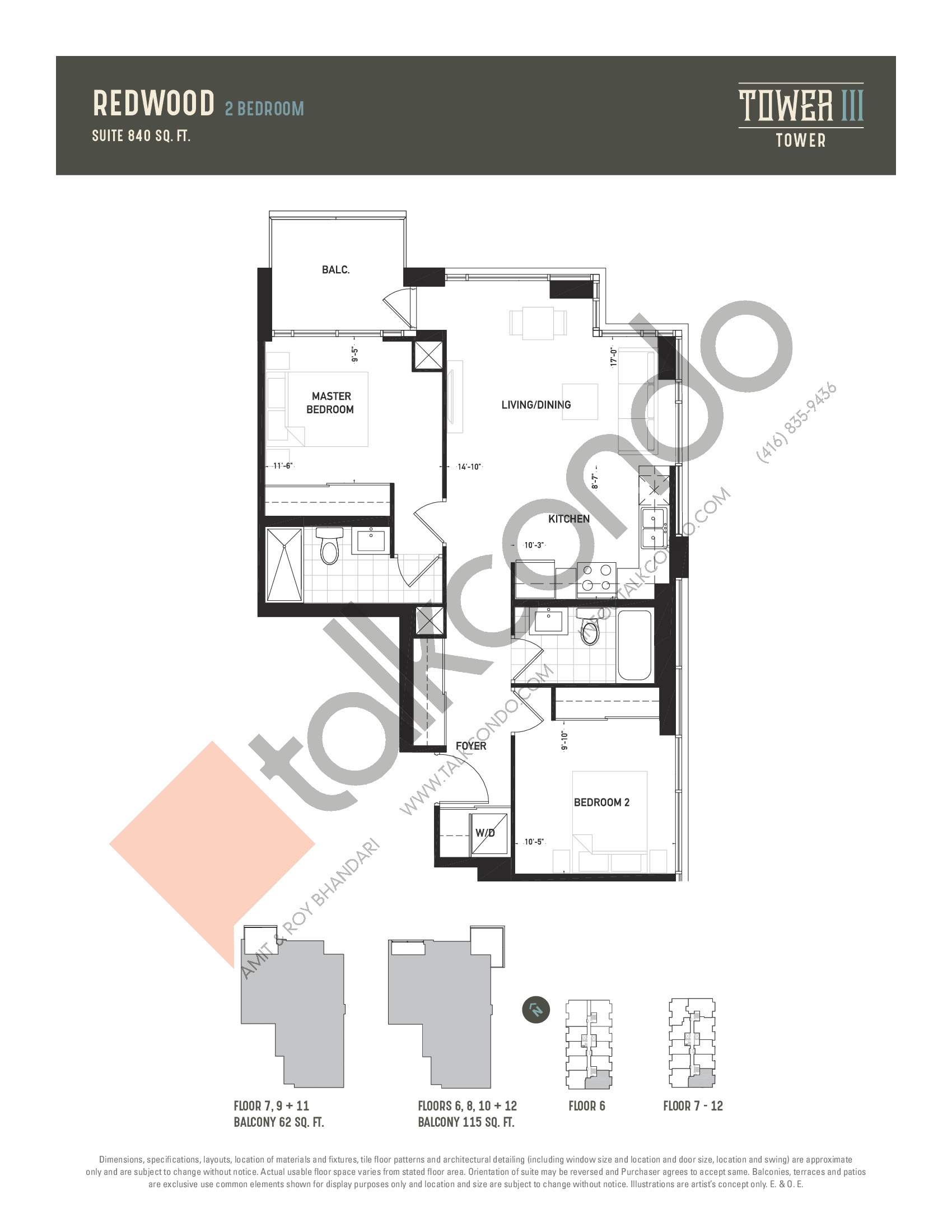 Redwood Floor Plan at Oak & Co. 3 Condos - 840 sq.ft