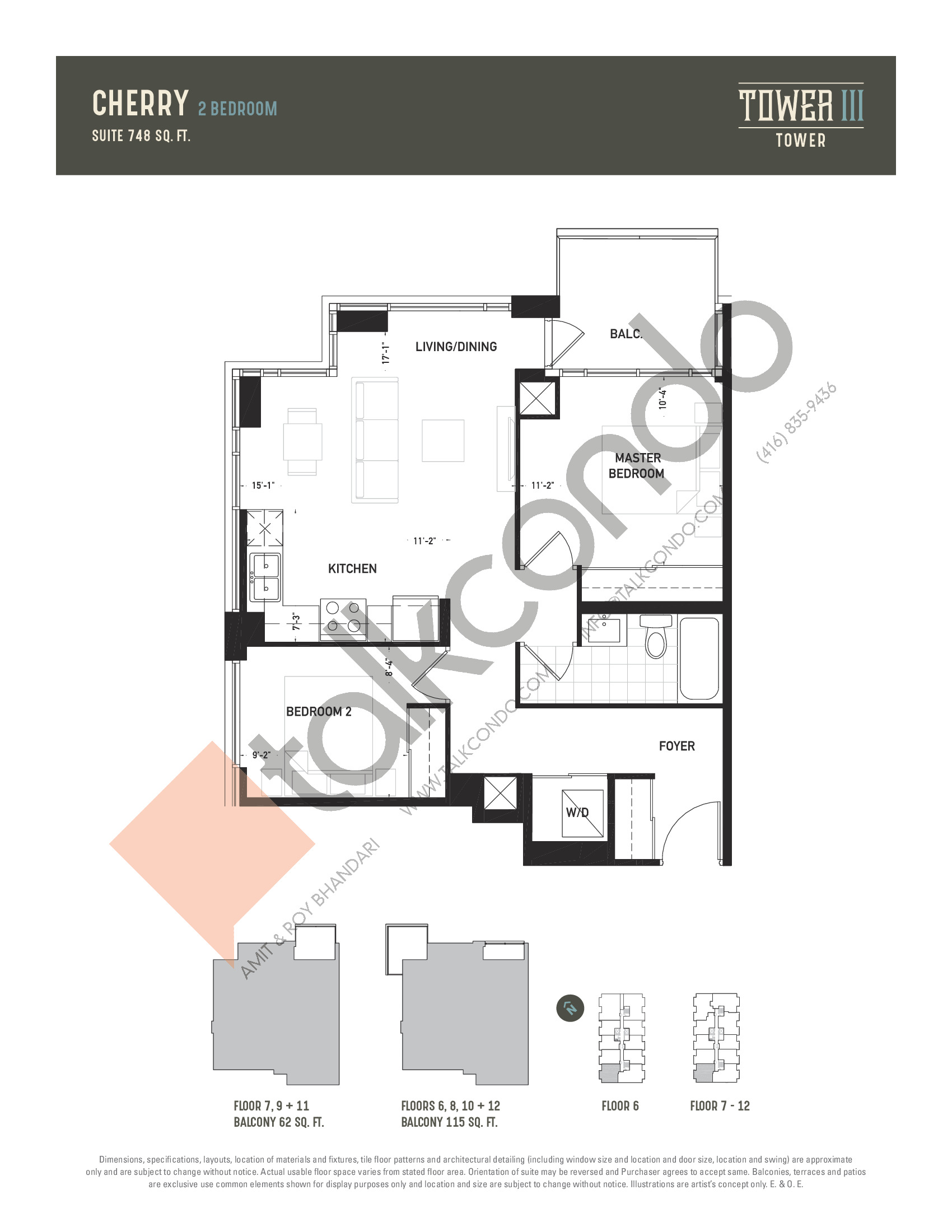 Cherry Floor Plan at Oak & Co. 3 Condos - 748 sq.ft