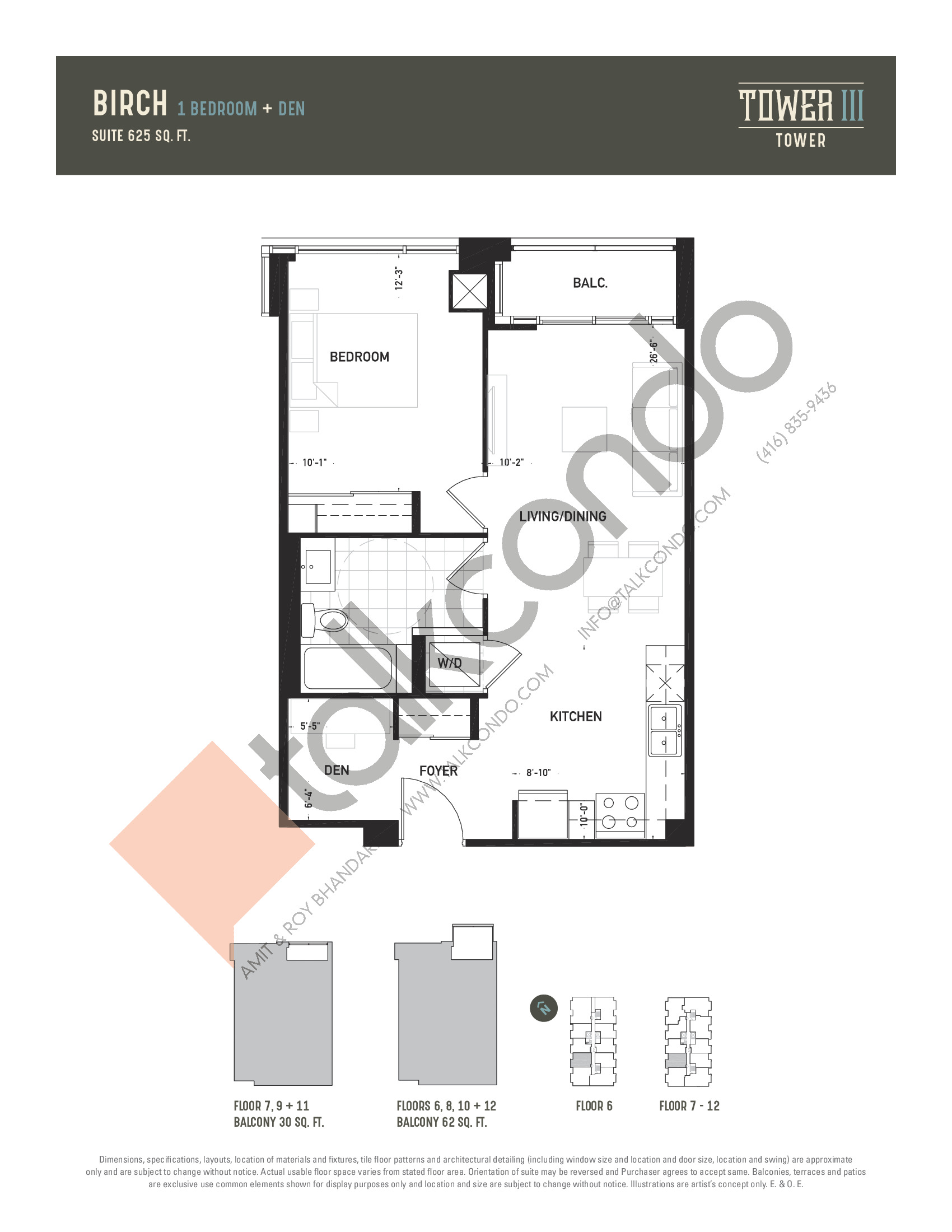 Birch Floor Plan at Oak & Co. 3 Condos - 625 sq.ft