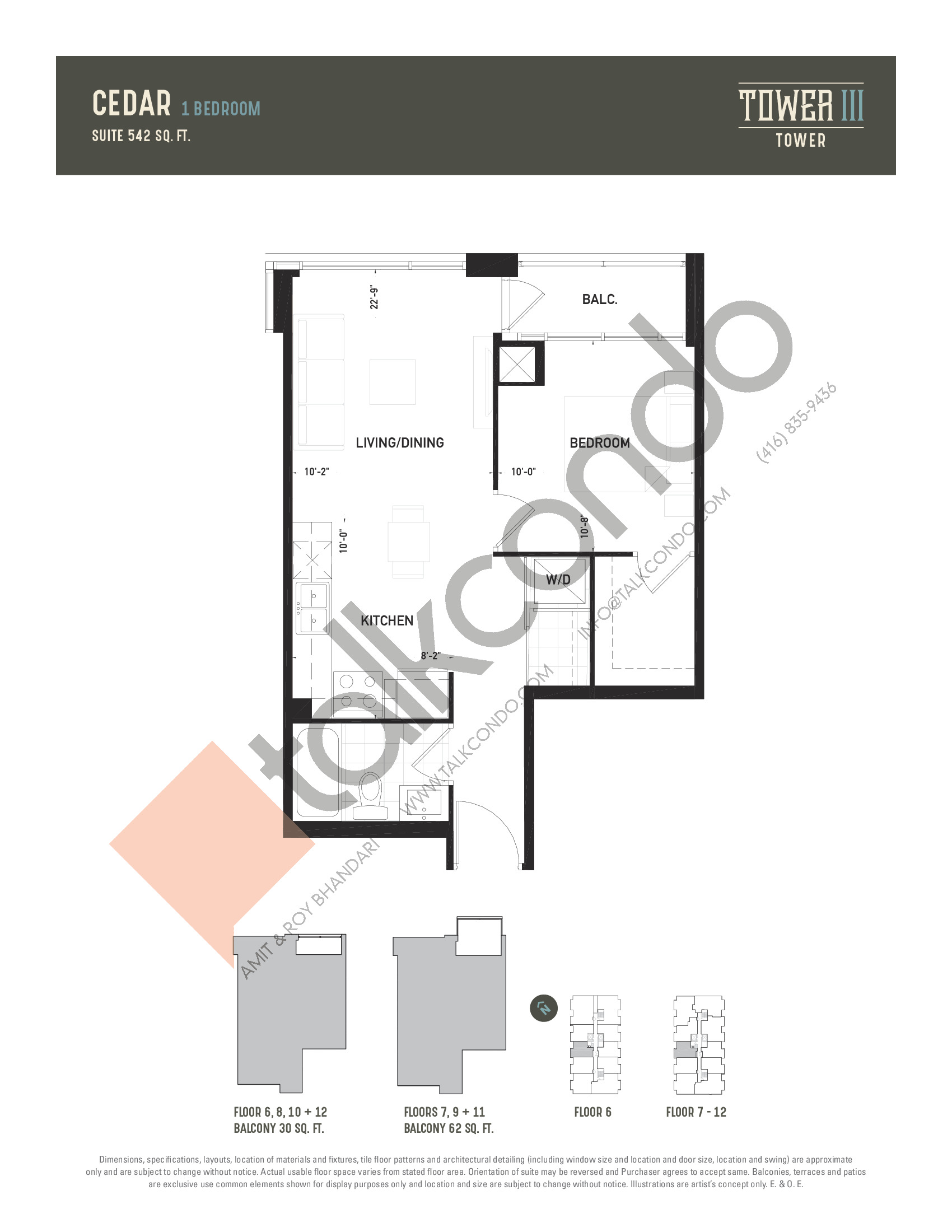 Cedar Floor Plan at Oak & Co. 3 Condos - 542 sq.ft