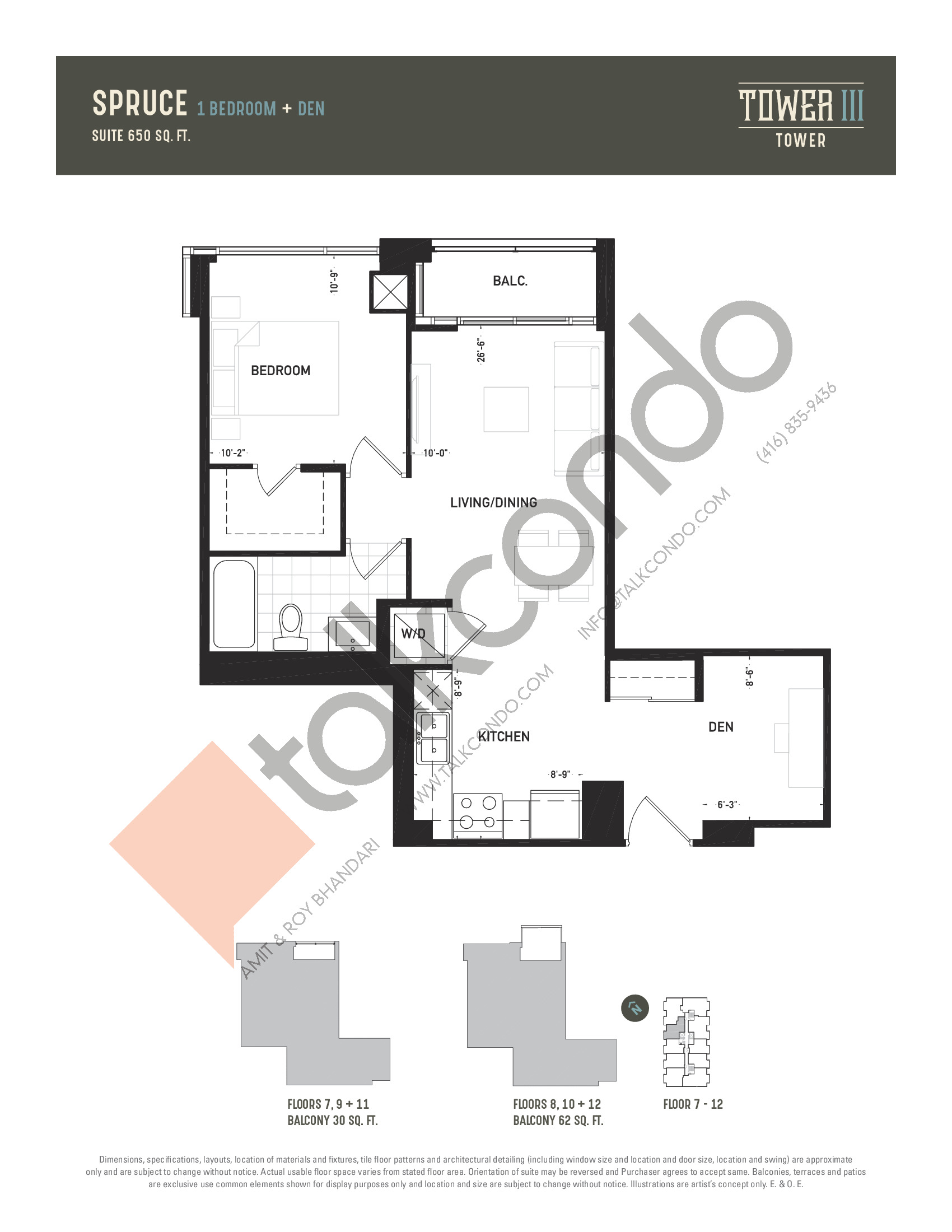 Spruce Floor Plan at Oak & Co. 3 Condos - 650 sq.ft