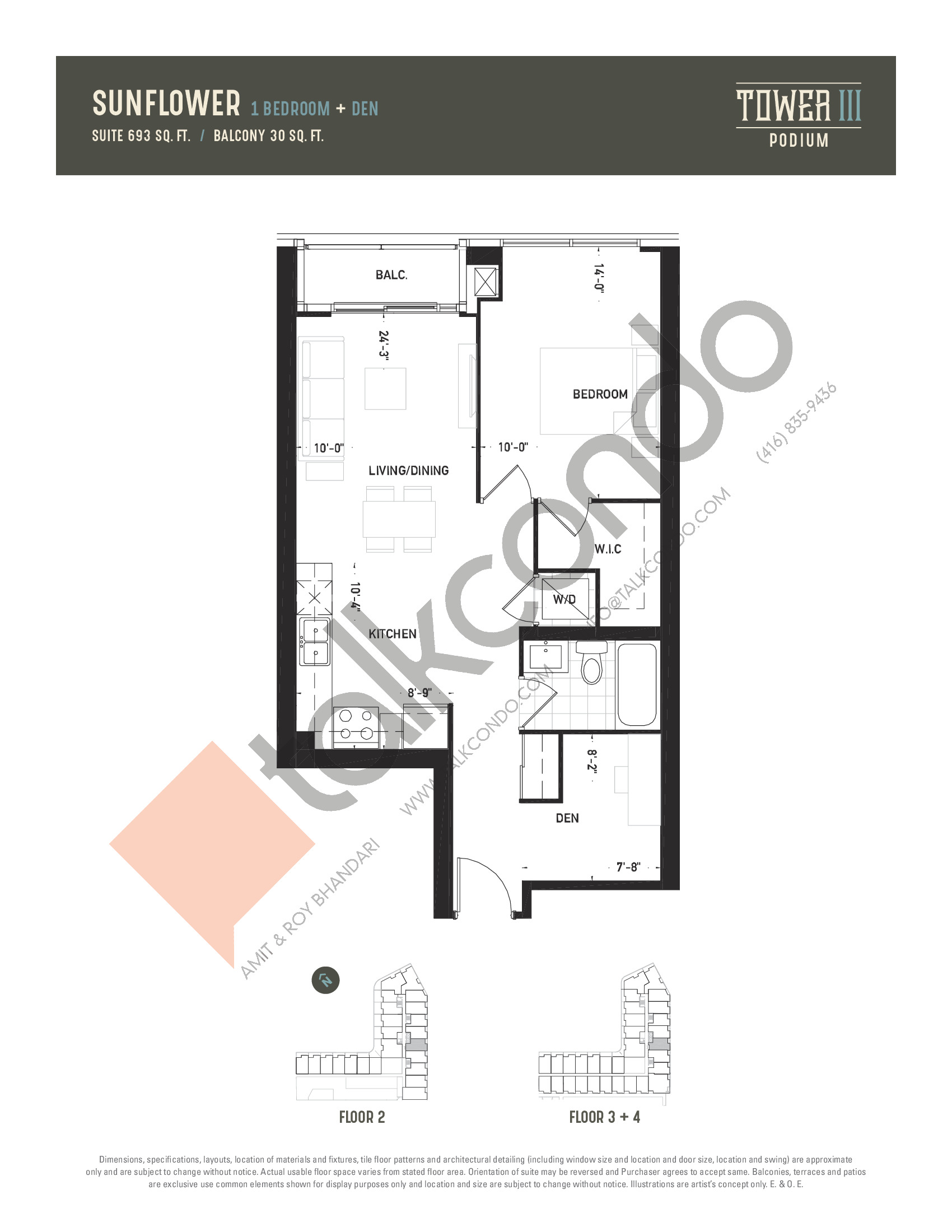 Sunflower Floor Plan at Oak & Co. 3 Condos - 693 sq.ft