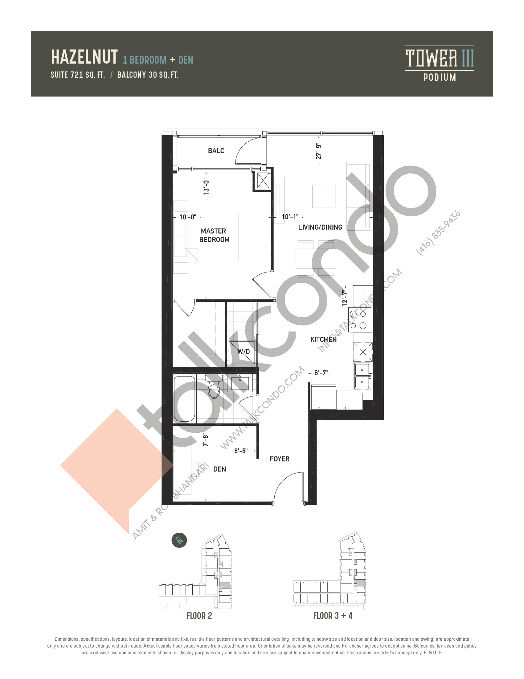 Hazelnut Floor Plan at Oak & Co. 3 Condos - 721 sq.ft