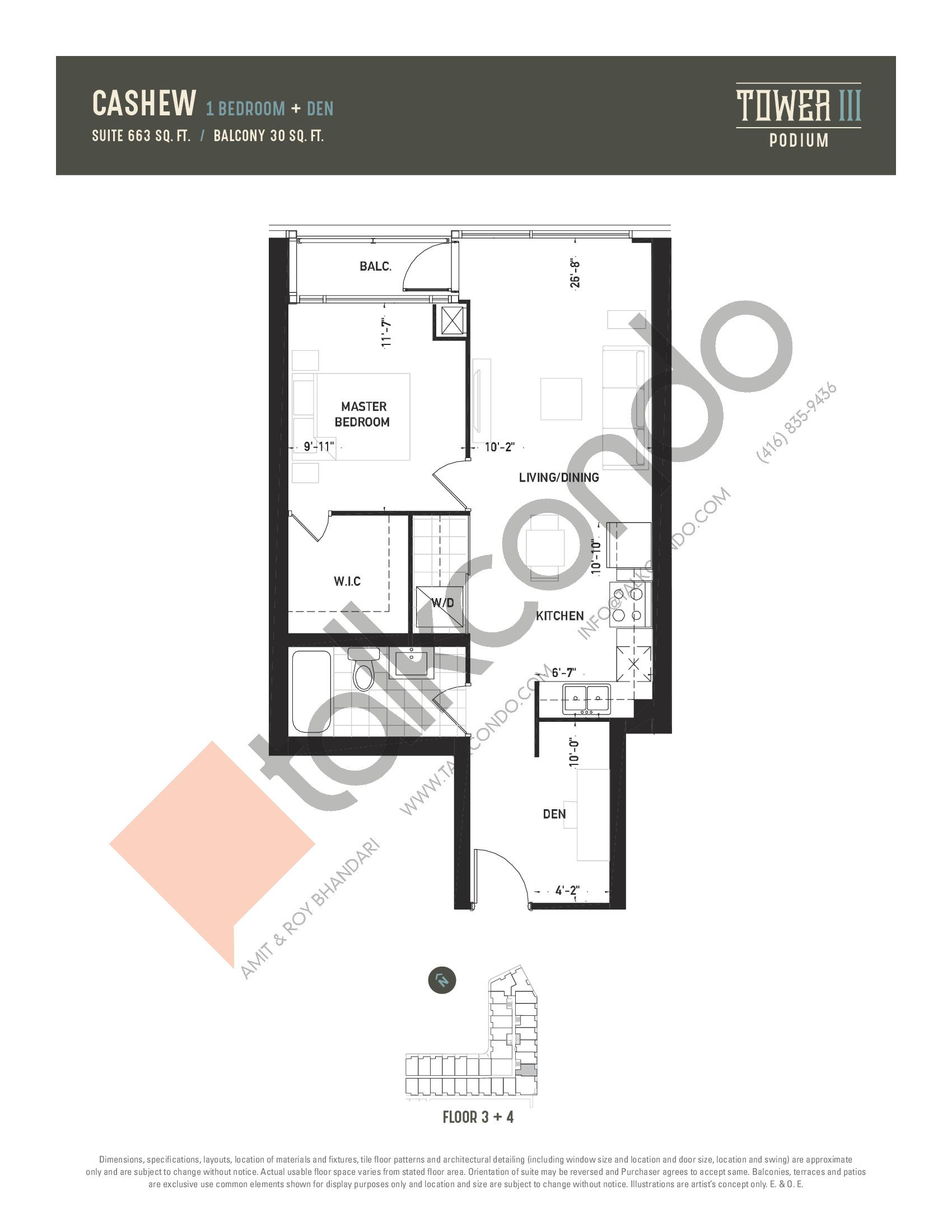 Cashew Floor Plan at Oak & Co. 3 Condos - 663 sq.ft