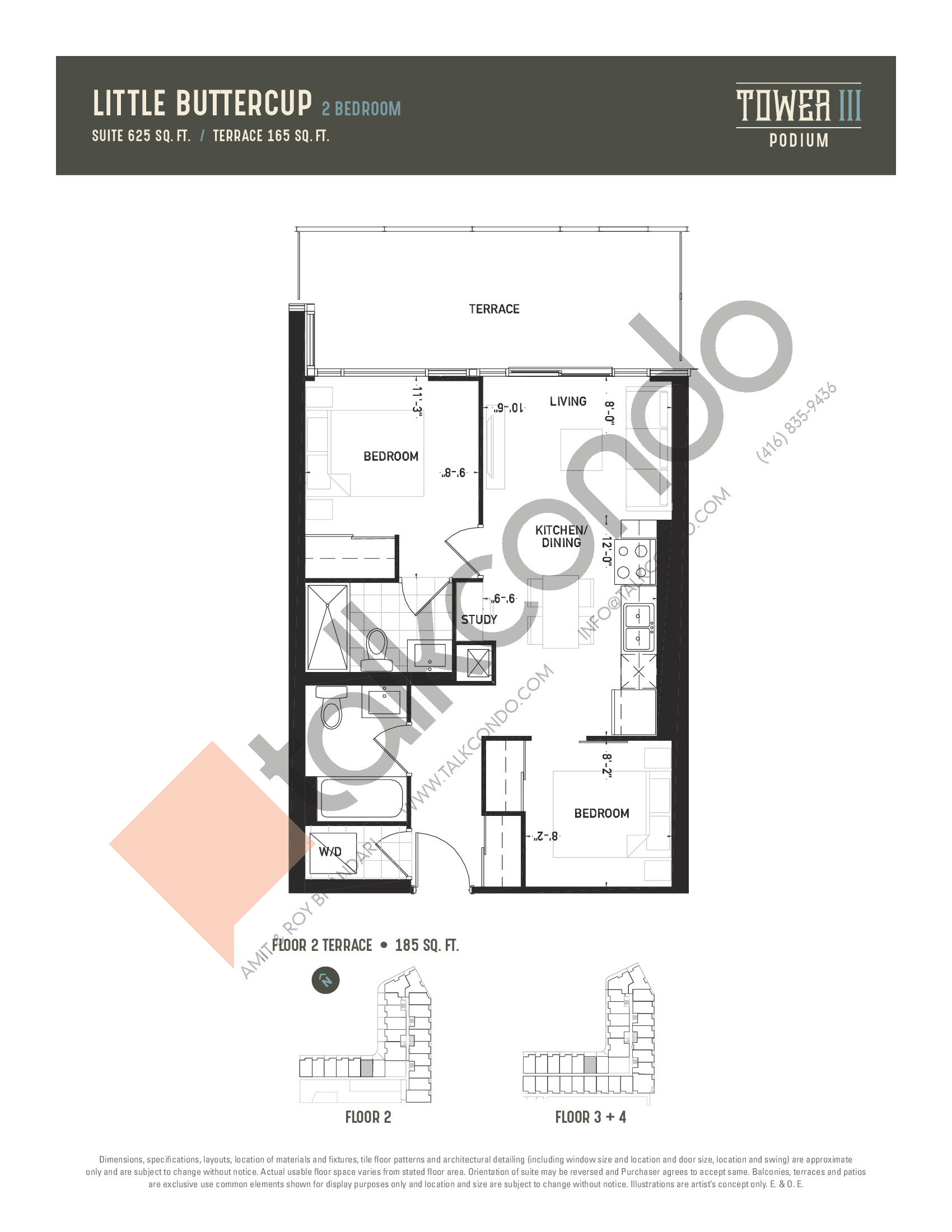 Little Buttercup Floor Plan at Oak & Co. 3 Condos - 625 sq.ft