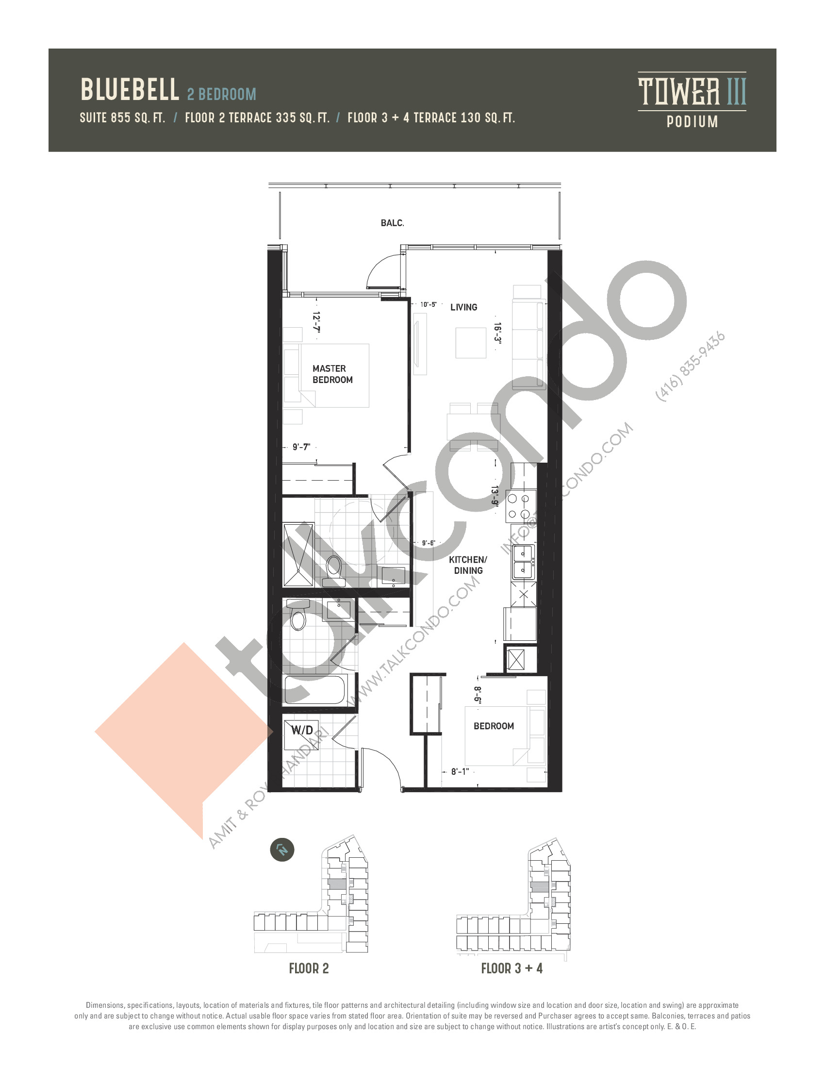 Bluebell Floor Plan at Oak & Co. 3 Condos - 855 sq.ft