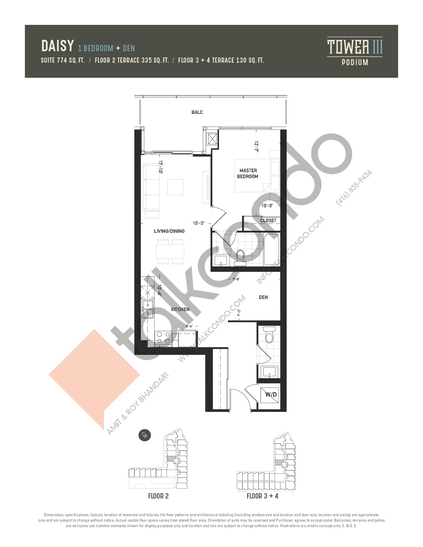 Daisy Floor Plan at Oak & Co. 3 Condos - 774 sq.ft