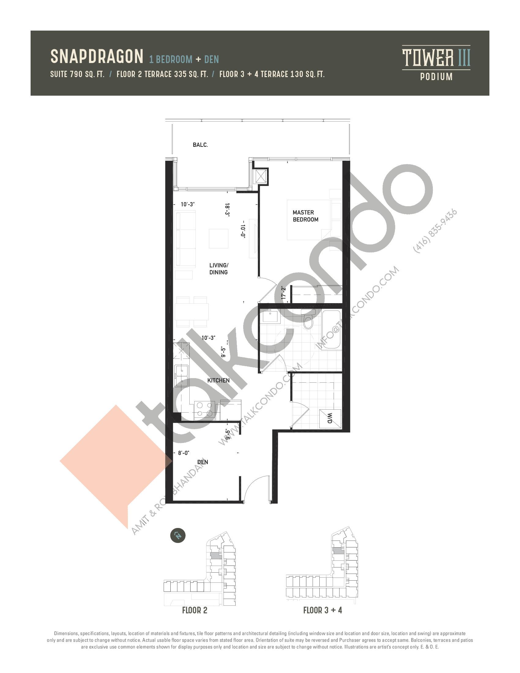 Snapdragon Floor Plan at Oak & Co. 3 Condos - 790 sq.ft