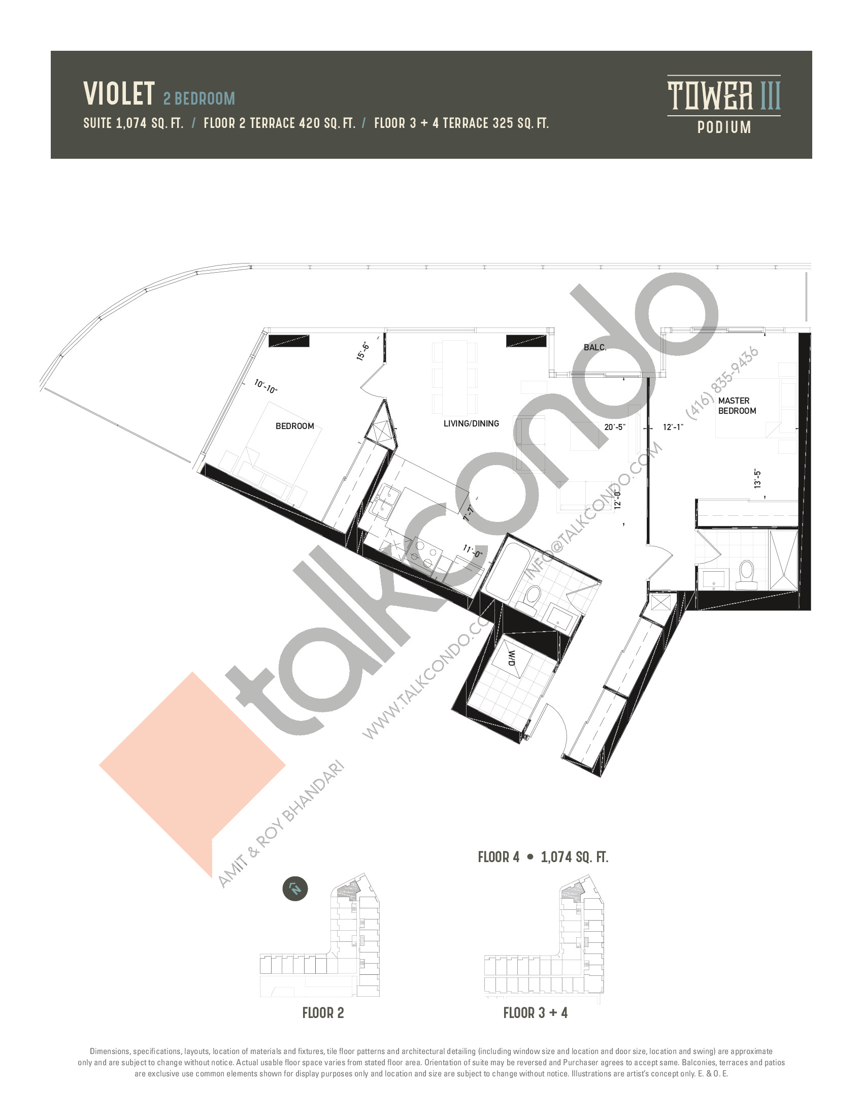 Violet Floor Plan at Oak & Co. 3 Condos - 1074 sq.ft