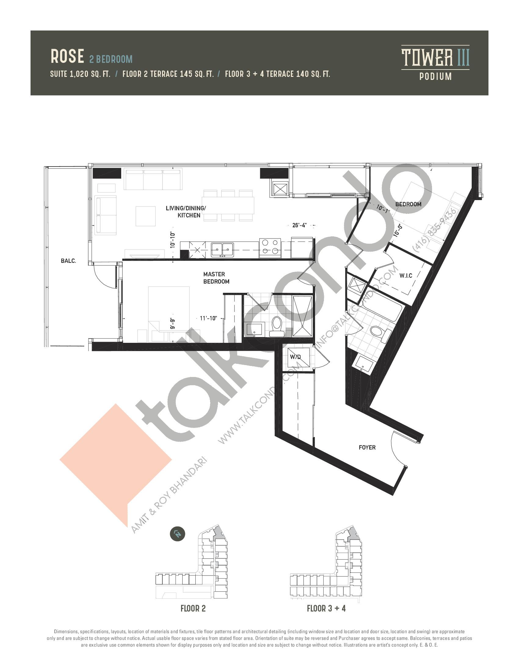 Rose Floor Plan at Oak & Co. 3 Condos - 1020 sq.ft