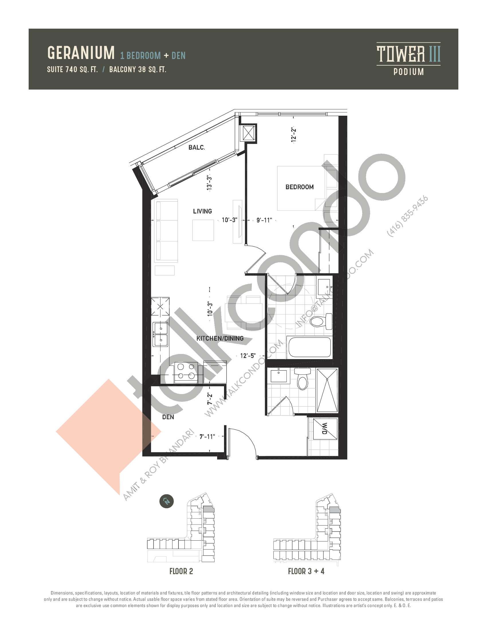 Geranium Floor Plan at Oak & Co. 3 Condos - 740 sq.ft