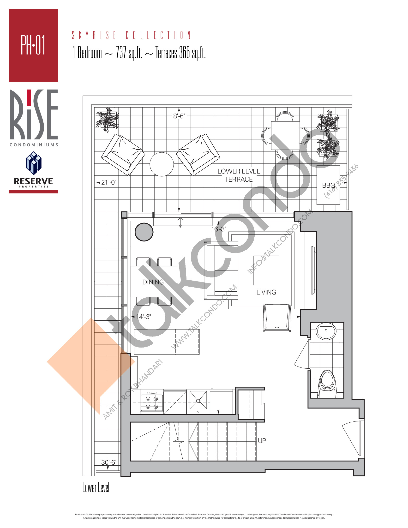 PH-01 (Lower) Floor Plan at Rise Condos - 737 sq.ft