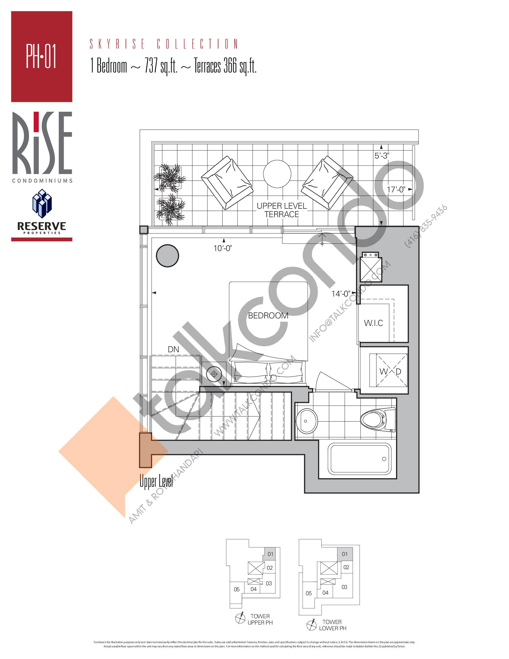 PH-01 (Upper) Floor Plan at Rise Condos - 737 sq.ft