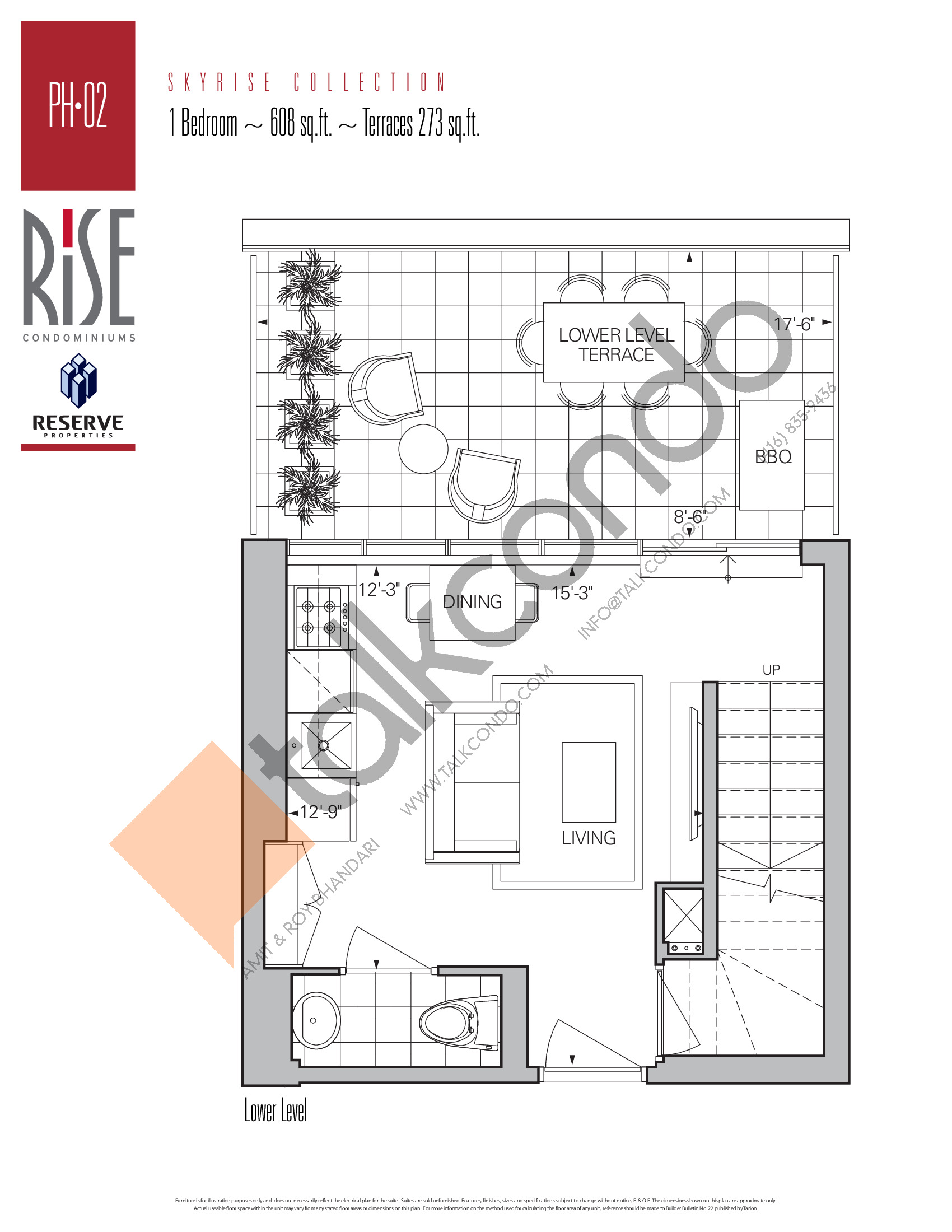 PH-02 (Lower) Floor Plan at Rise Condos - 608 sq.ft