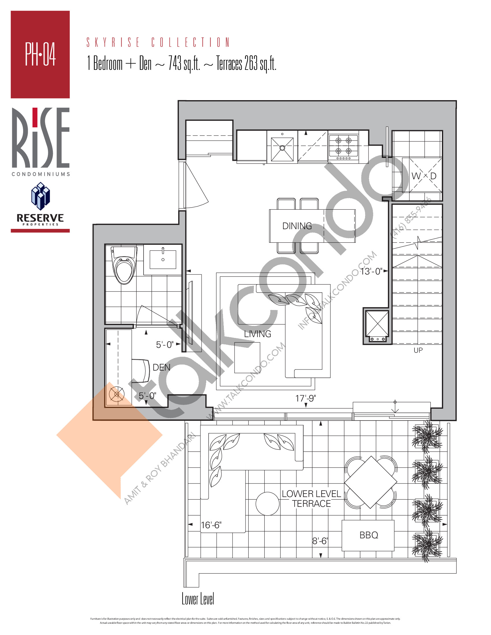 PH-04 (Lower) Floor Plan at Rise Condos - 743 sq.ft