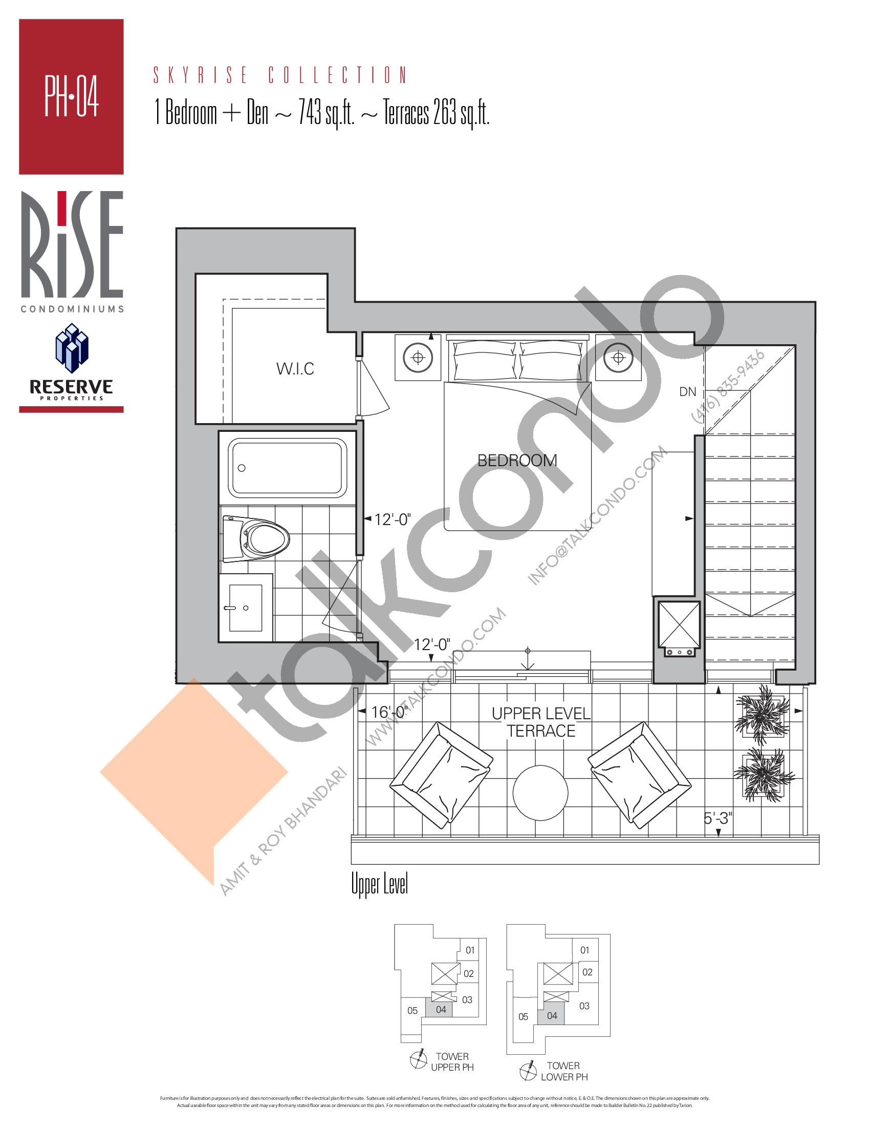 PH-04 (Upper) Floor Plan at Rise Condos - 743 sq.ft
