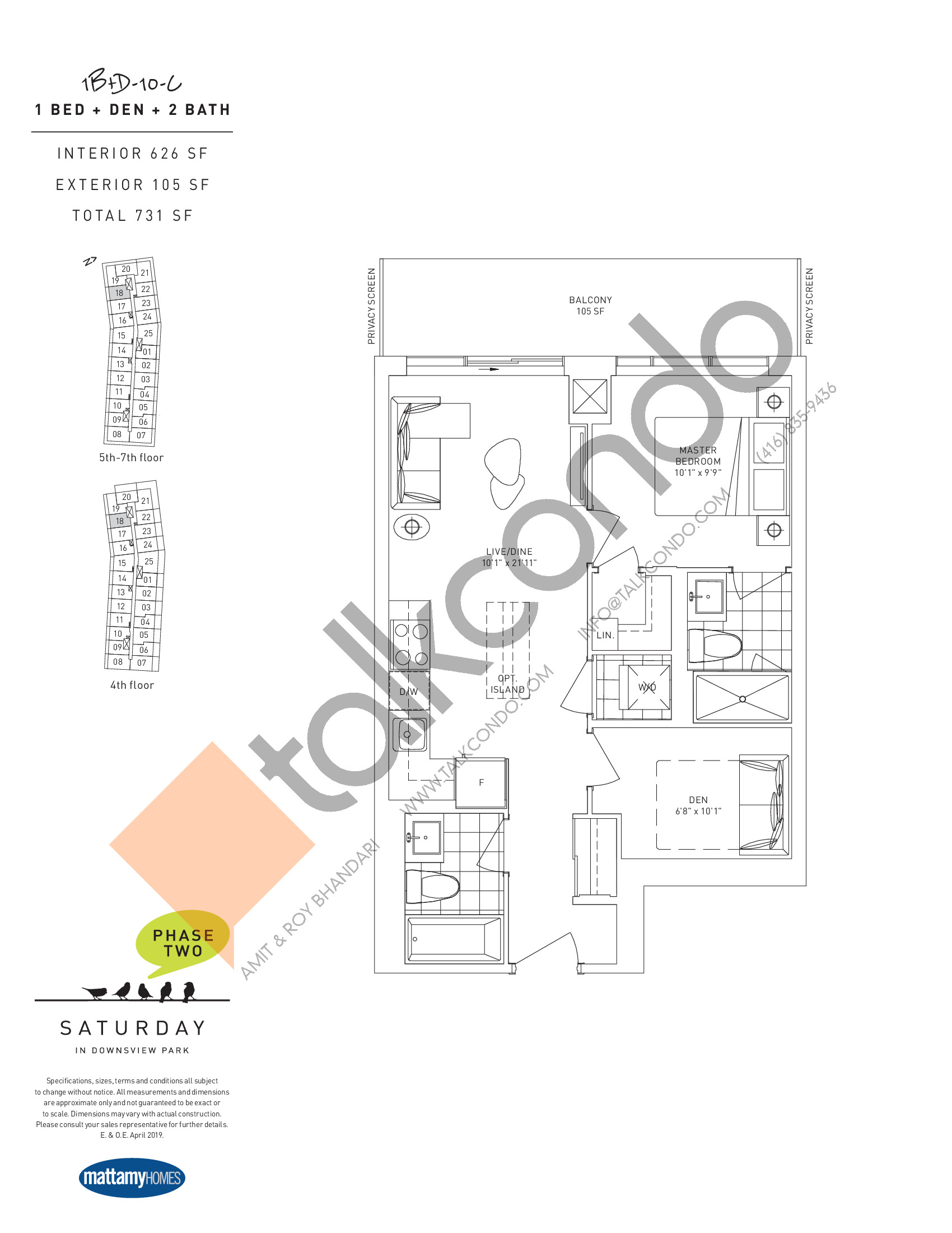 1B+D-10-C Floor Plan at Saturday in Downsview Park Phase 2 Condos - 626 sq.ft