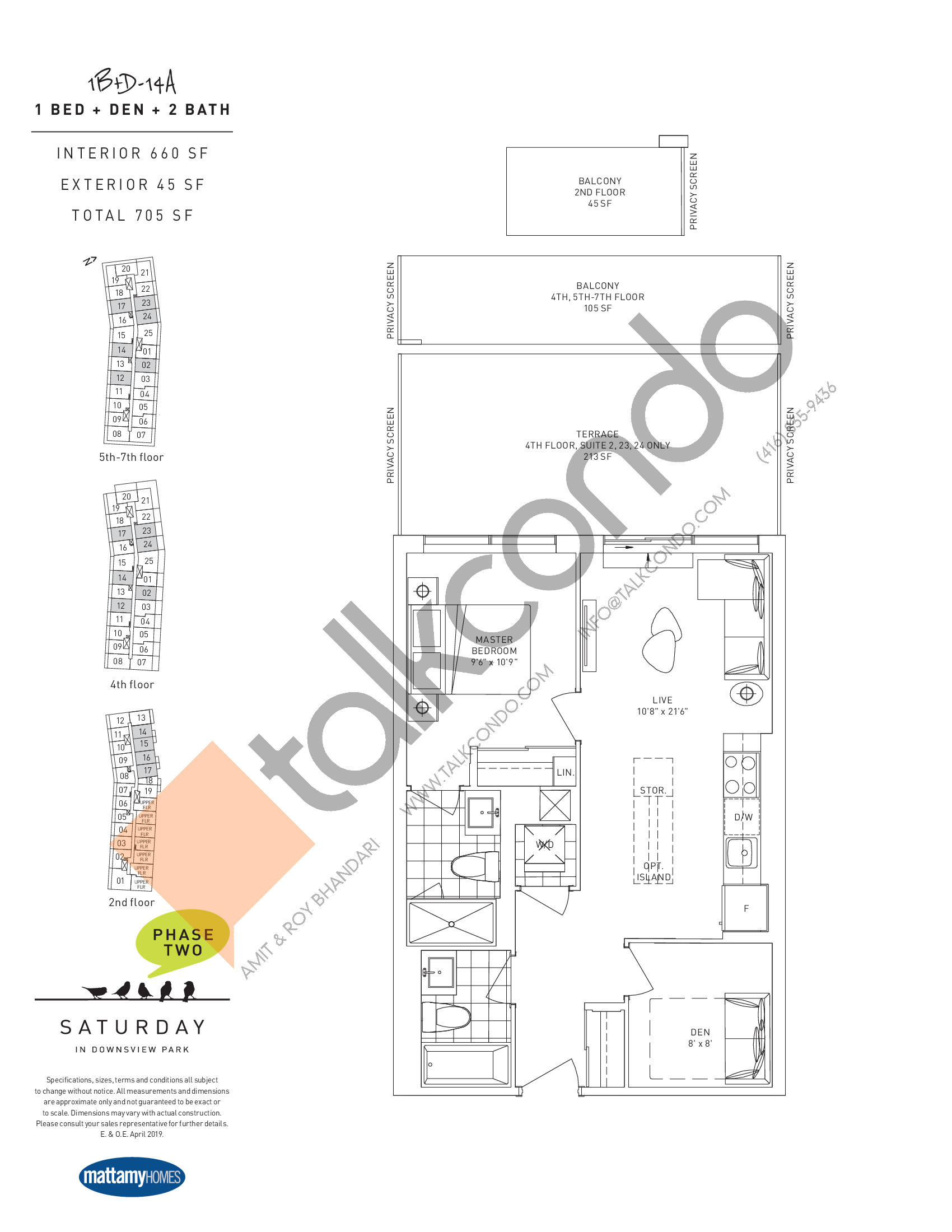 1B+D-14A Floor Plan at Saturday in Downsview Park Phase 2 Condos - 660 sq.ft
