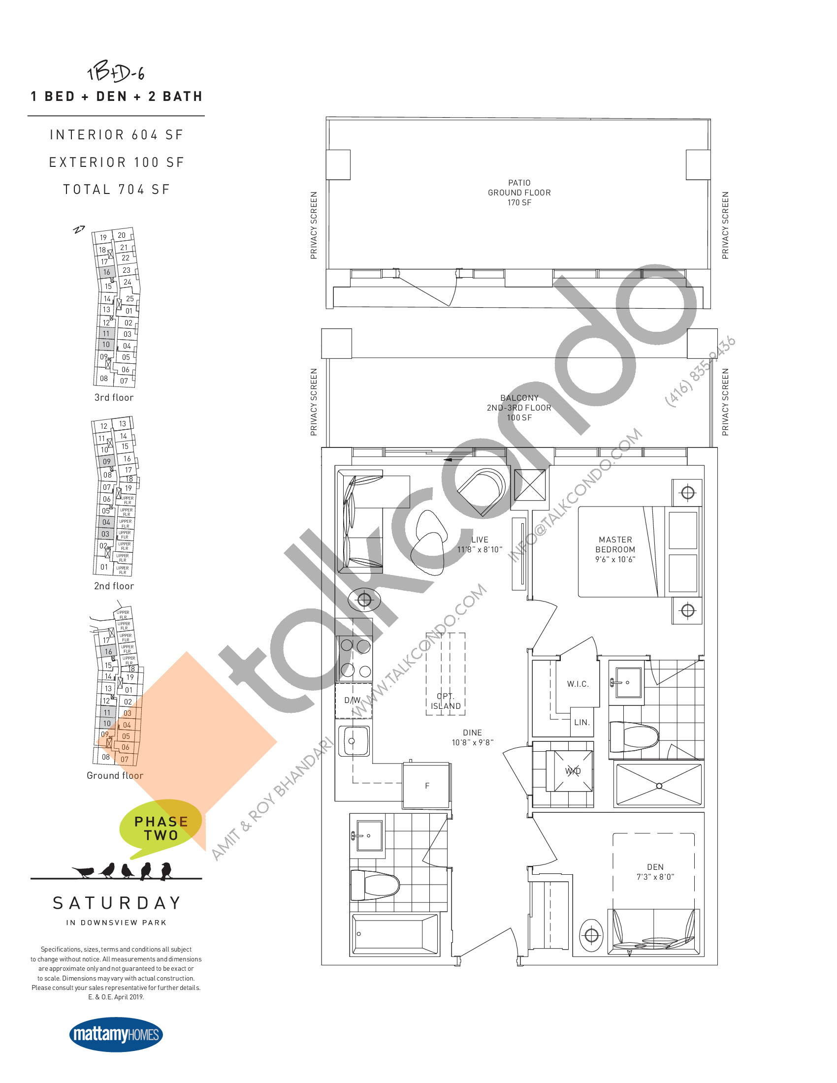1B+D-6 Floor Plan at Saturday in Downsview Park Phase 2 Condos - 604 sq.ft
