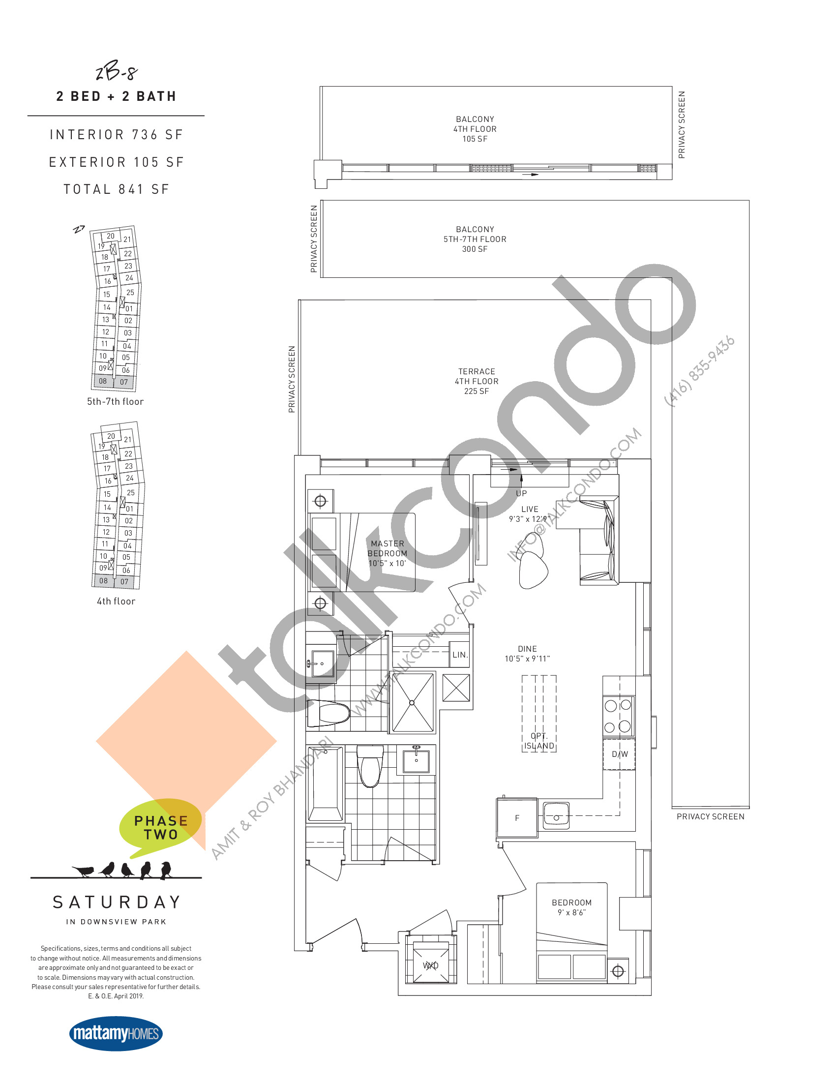2B-8 Floor Plan at Saturday in Downsview Park Phase 2 Condos - 736 sq.ft
