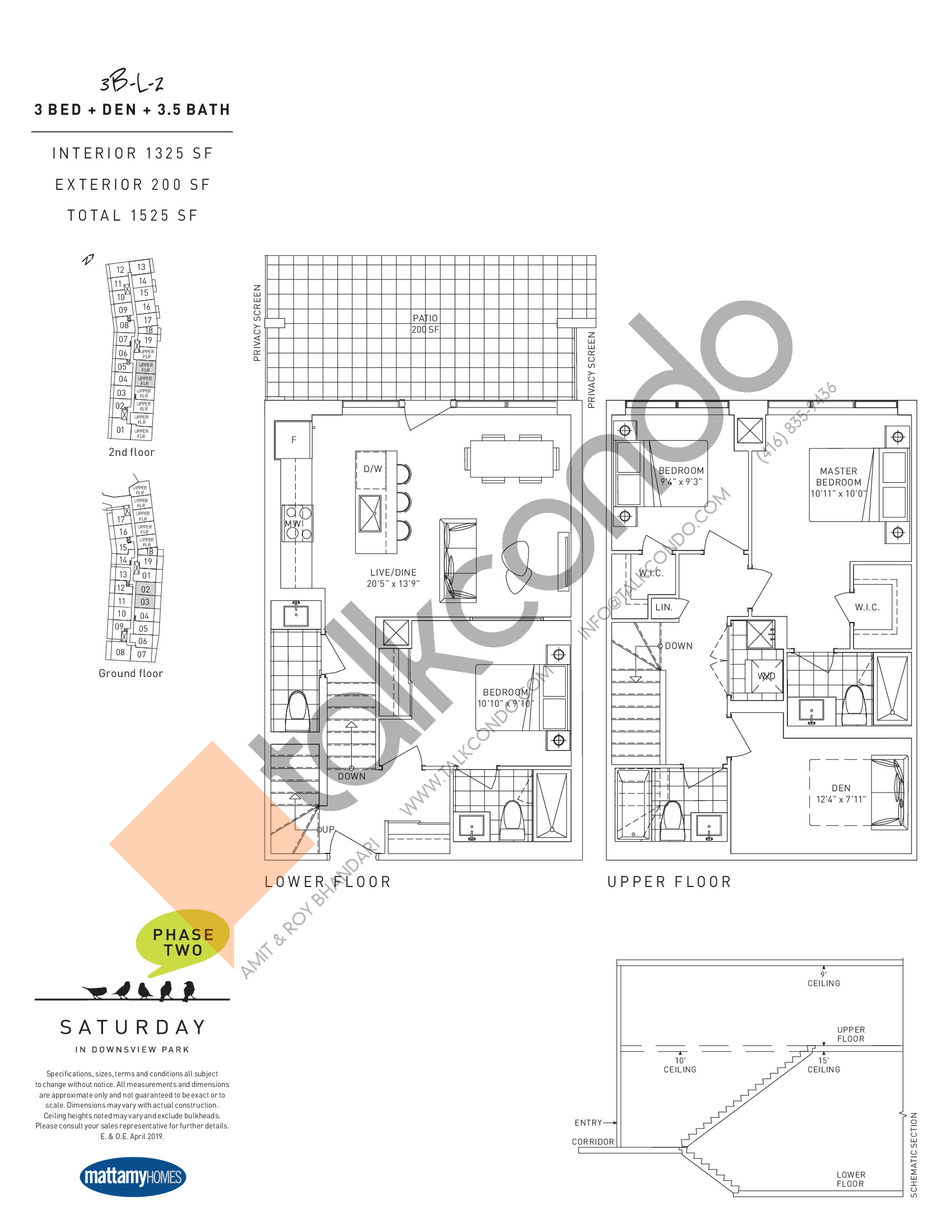 3B-L-2 Floor Plan at Saturday in Downsview Park Phase 2 Condos - 1325 sq.ft