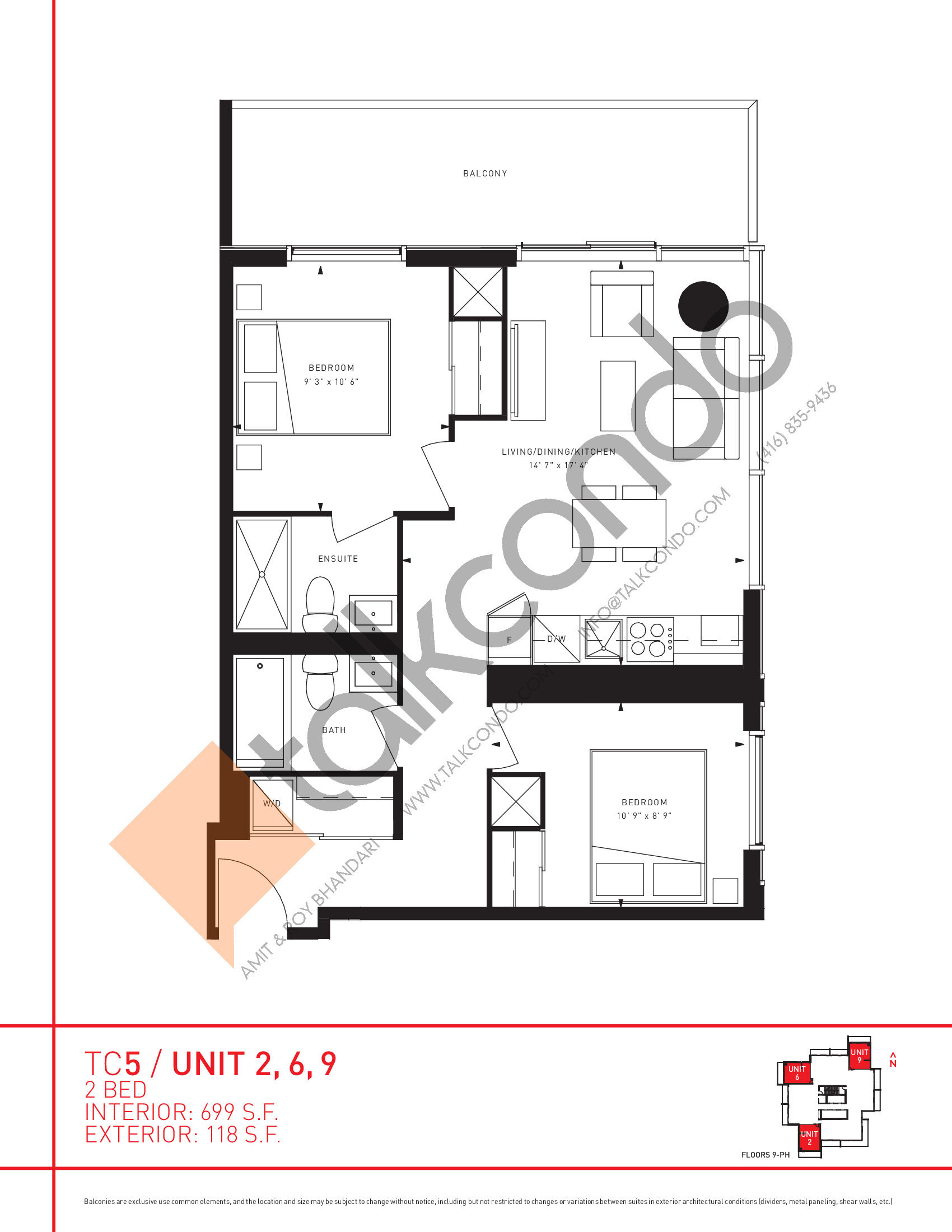 Unit 2, 6, 9 Floor Plan at Transit City 5 (TC5) Condos - 699 sq.ft