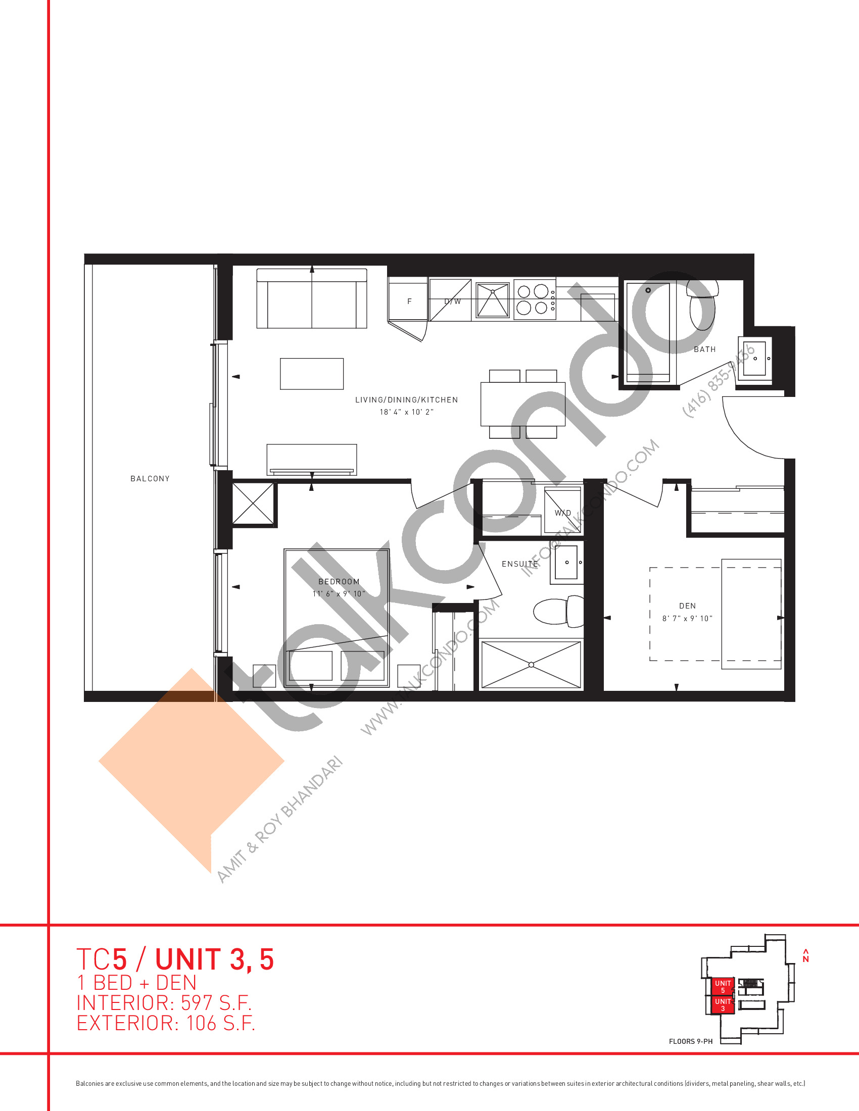 Unit 3, 5 Floor Plan at Transit City 5 (TC5) Condos - 597 sq.ft