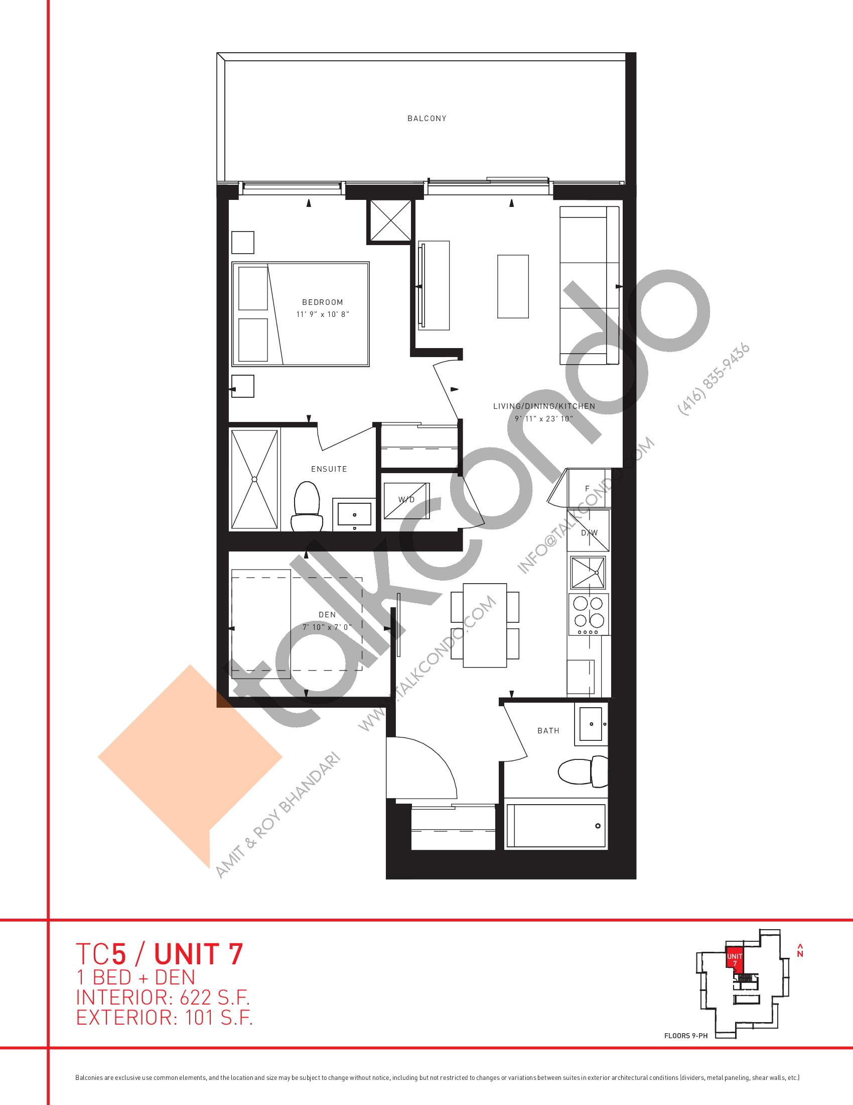 Unit 7 Floor Plan at Transit City 5 (TC5) Condos - 622 sq.ft