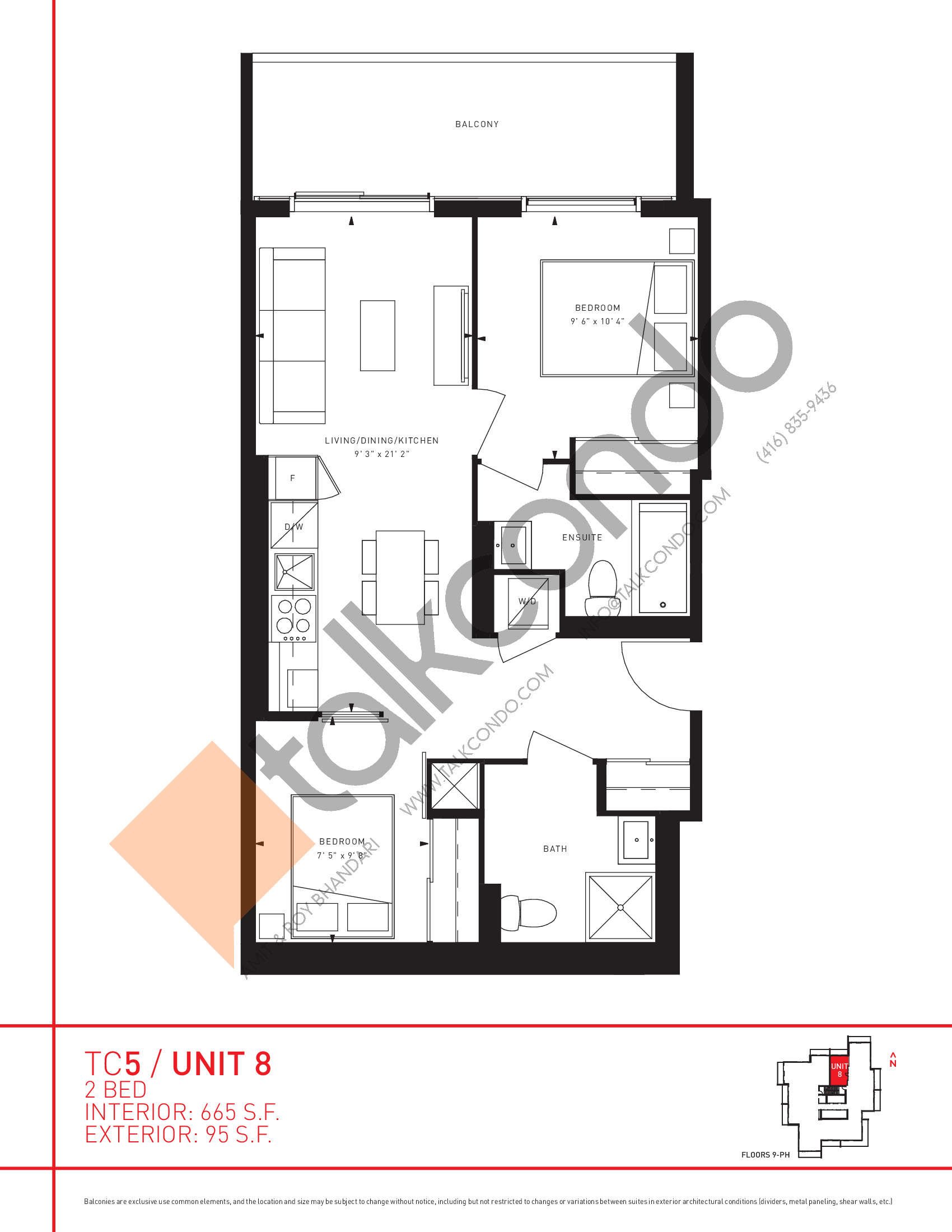 Unit 8 Floor Plan at Transit City 5 (TC5) Condos - 665 sq.ft