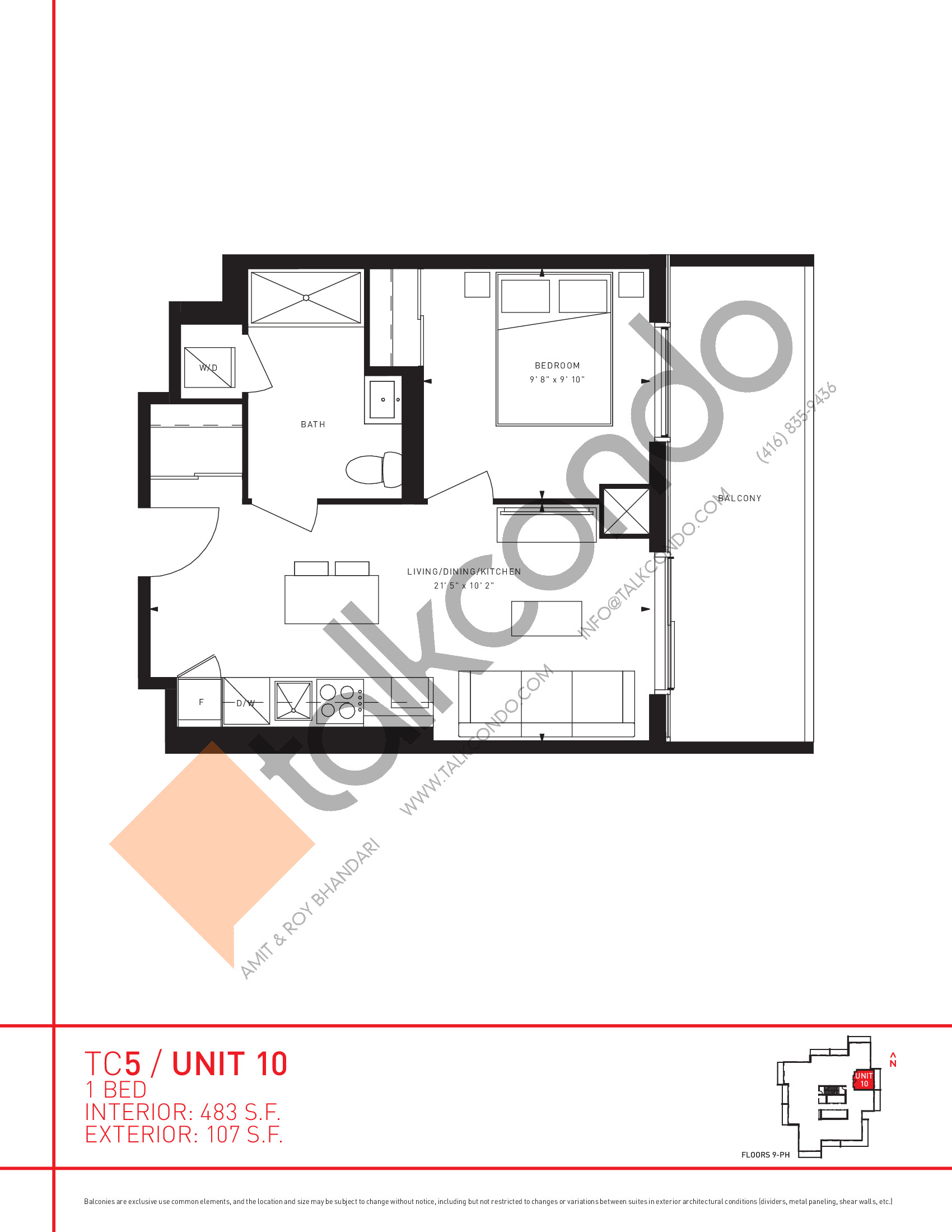 Unit 10 Floor Plan at Transit City 5 (TC5) Condos - 483 sq.ft