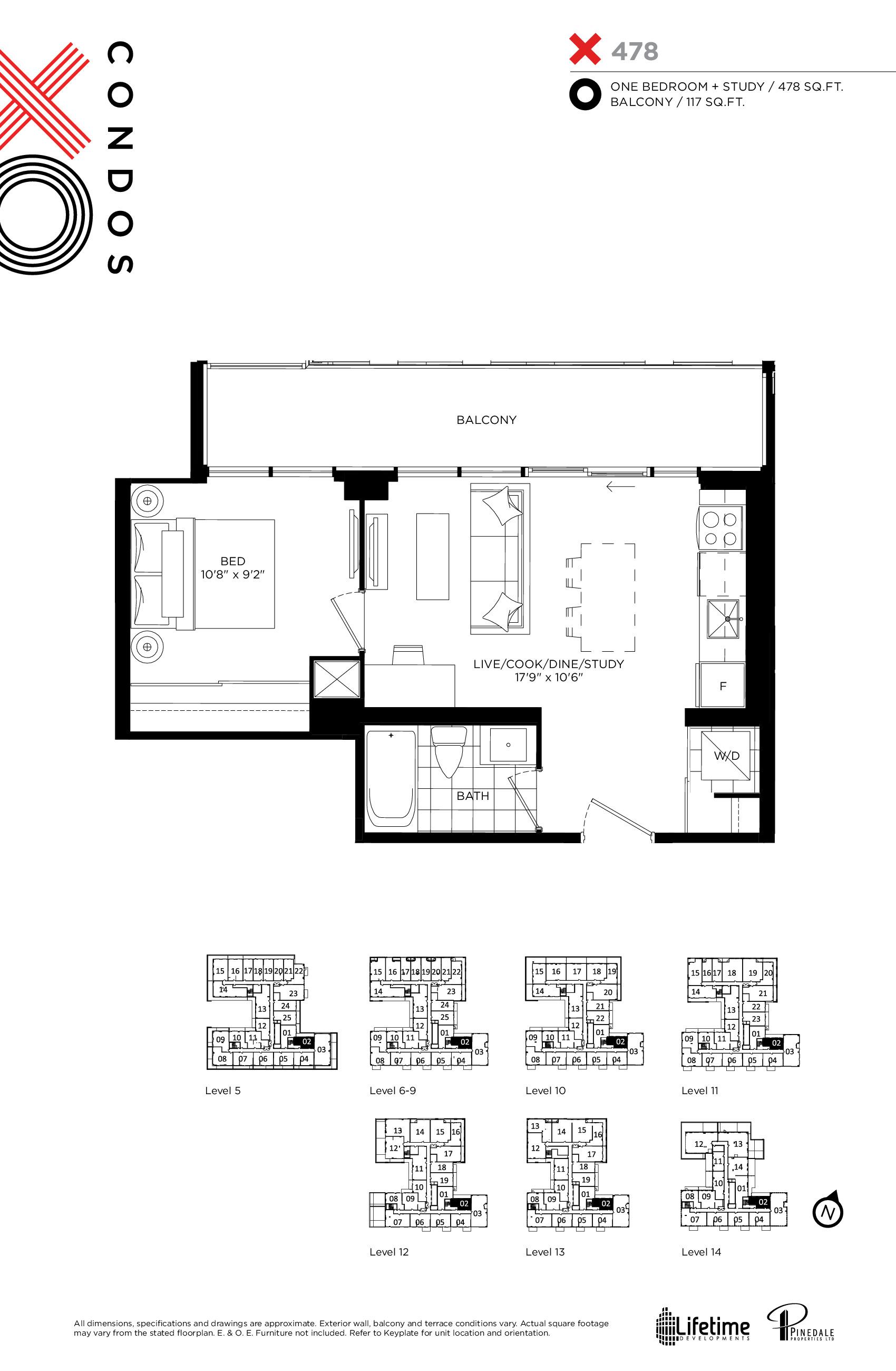 478 Floor Plan at XO Condos - 478 sq.ft