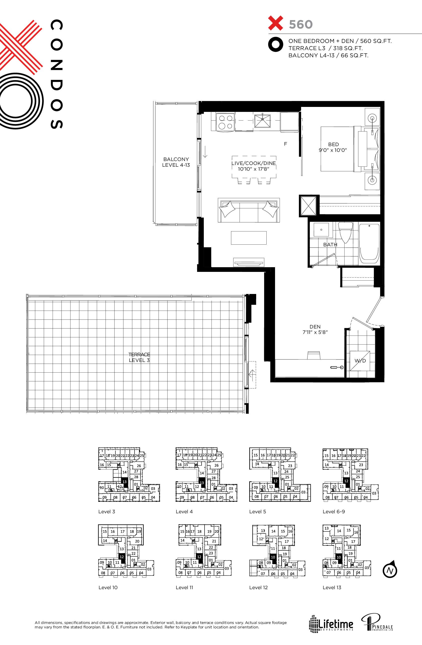 560 Floor Plan at XO Condos - 560 sq.ft