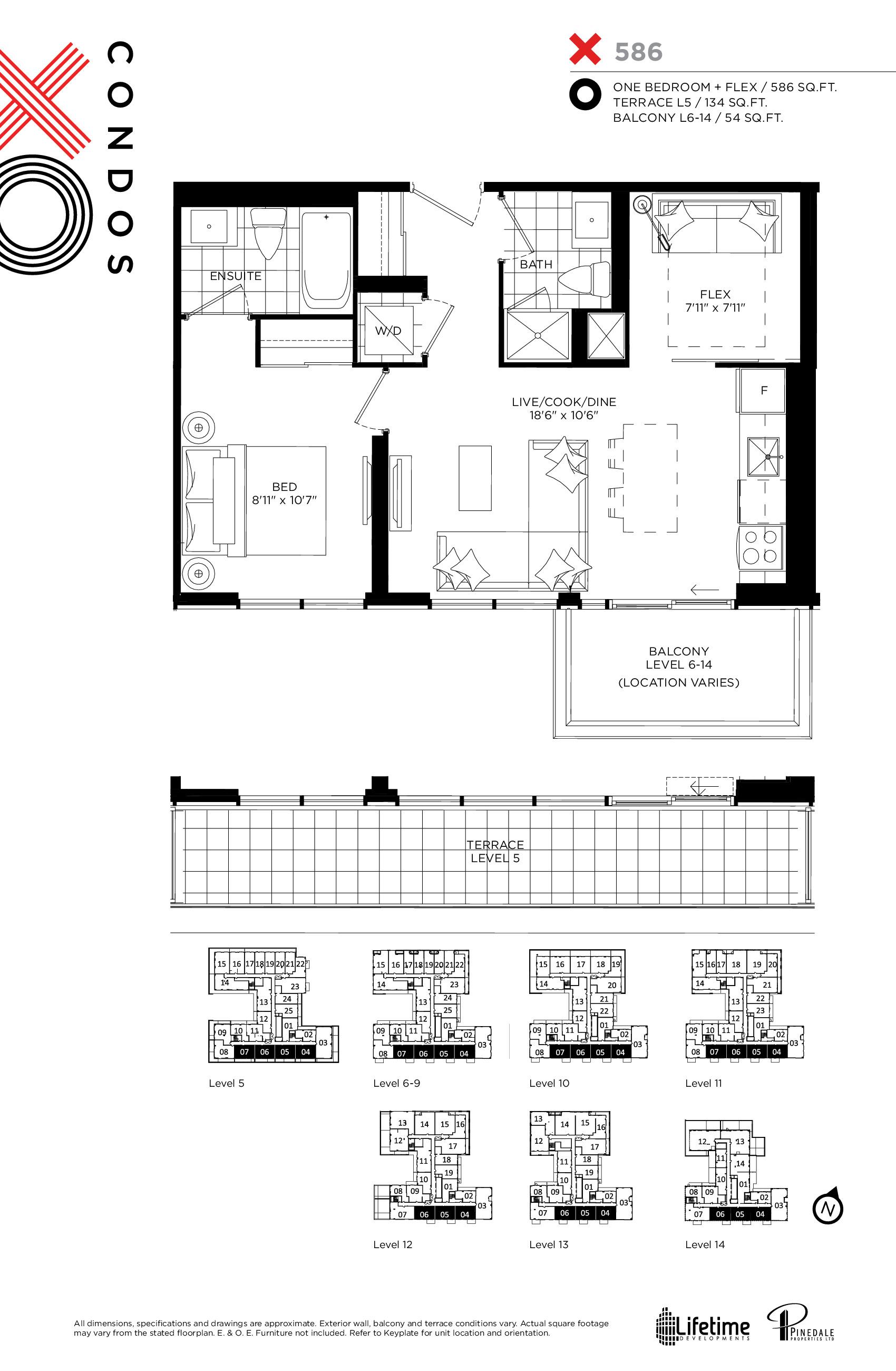 586 Floor Plan at XO Condos - 586 sq.ft