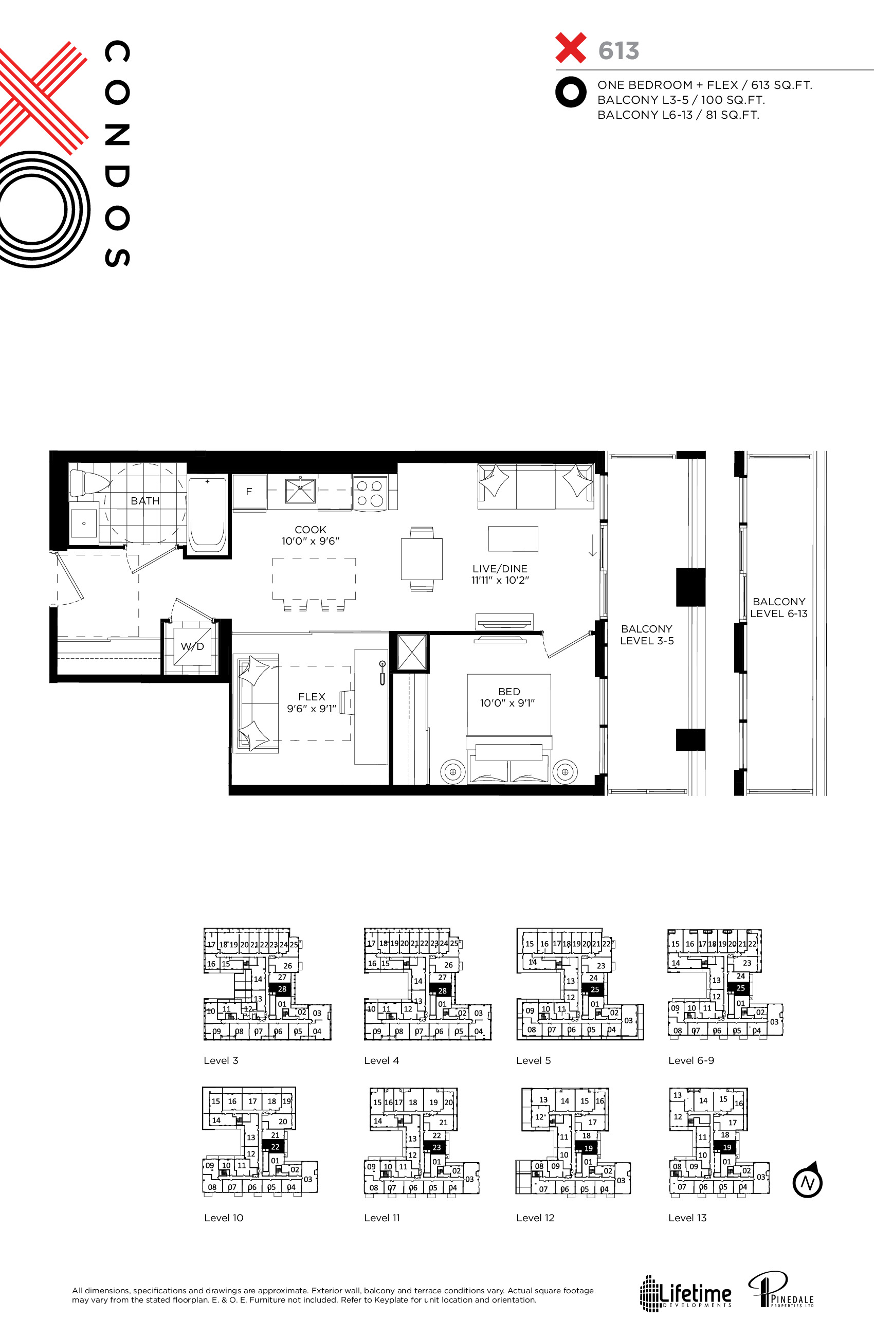 613 Floor Plan at XO Condos - 613 sq.ft