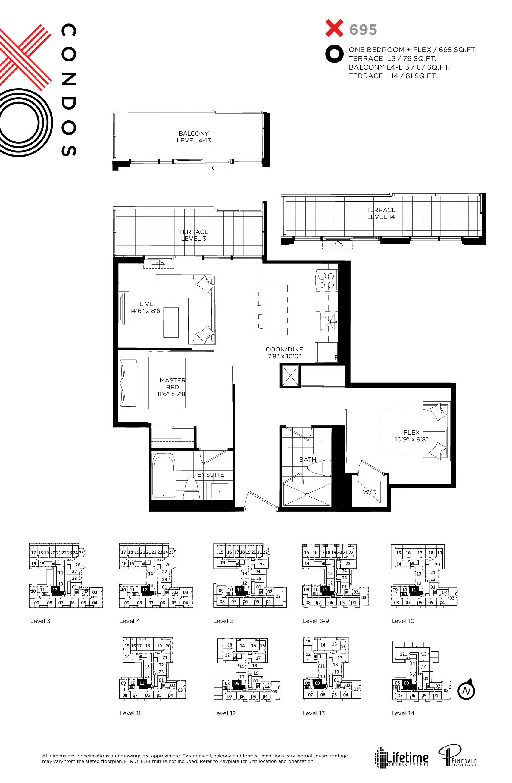 695 Floor Plan at XO Condos - 695 sq.ft