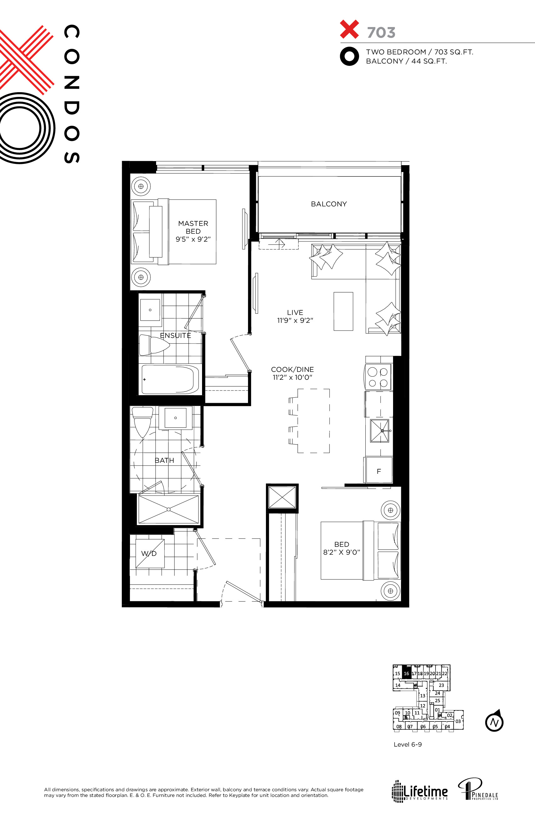 703 Floor Plan at XO Condos - 703 sq.ft