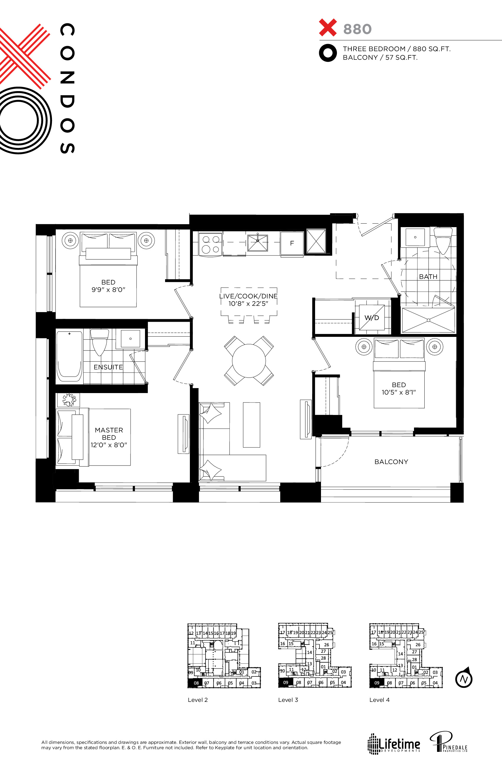 880 Floor Plan at XO Condos - 880 sq.ft
