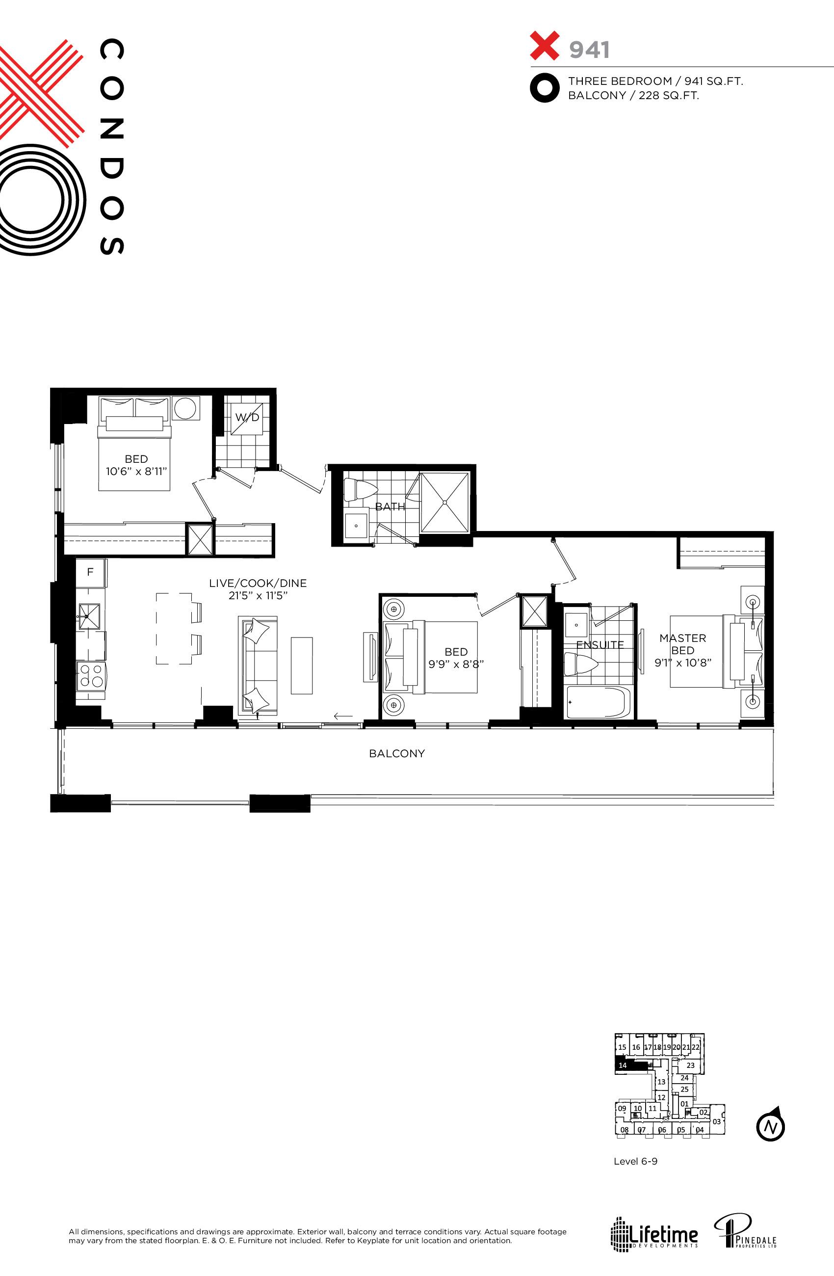 941 Floor Plan at XO Condos - 941 sq.ft