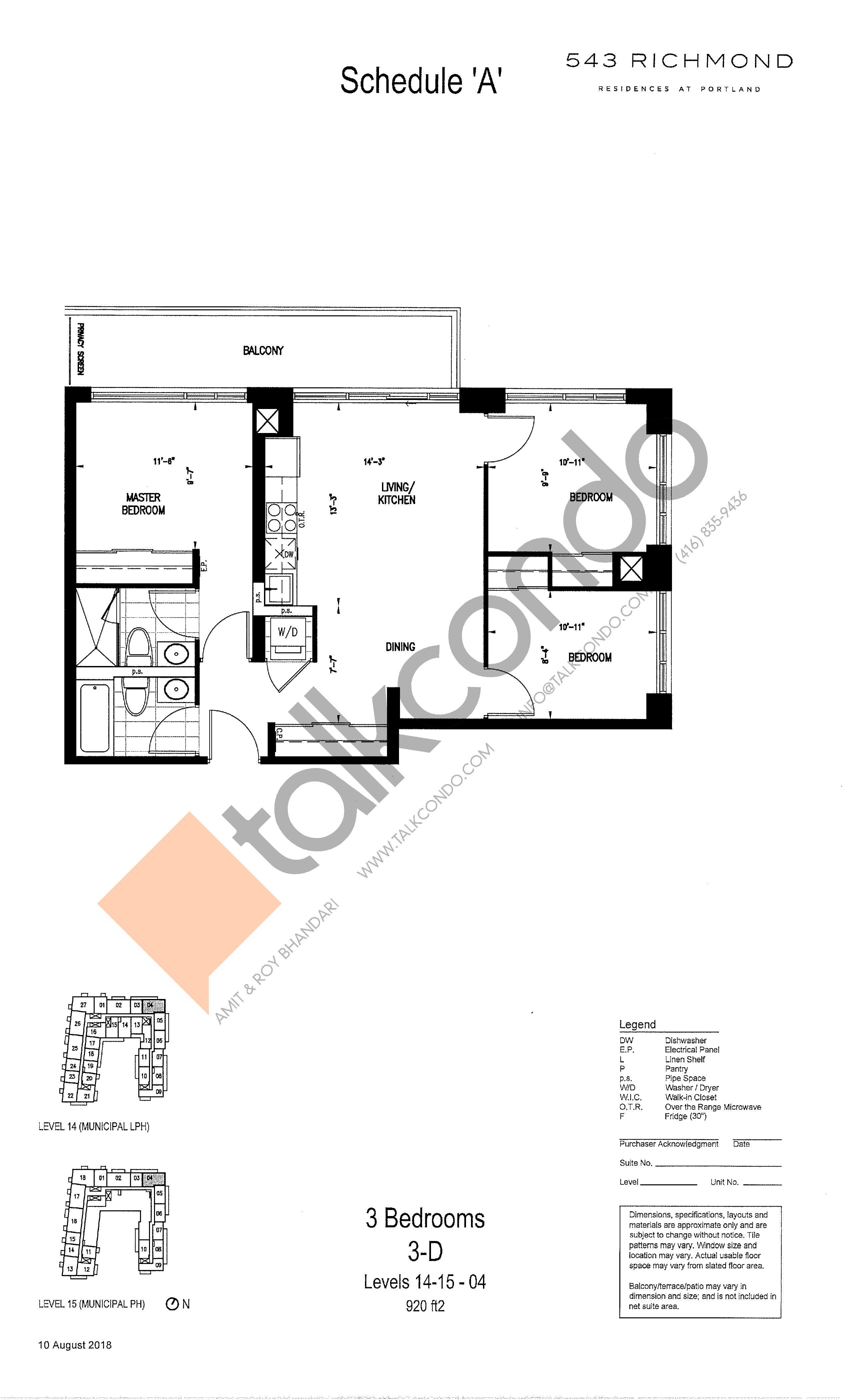 3-D Floor Plan at 543 Richmond St Condos - 920 sq.ft